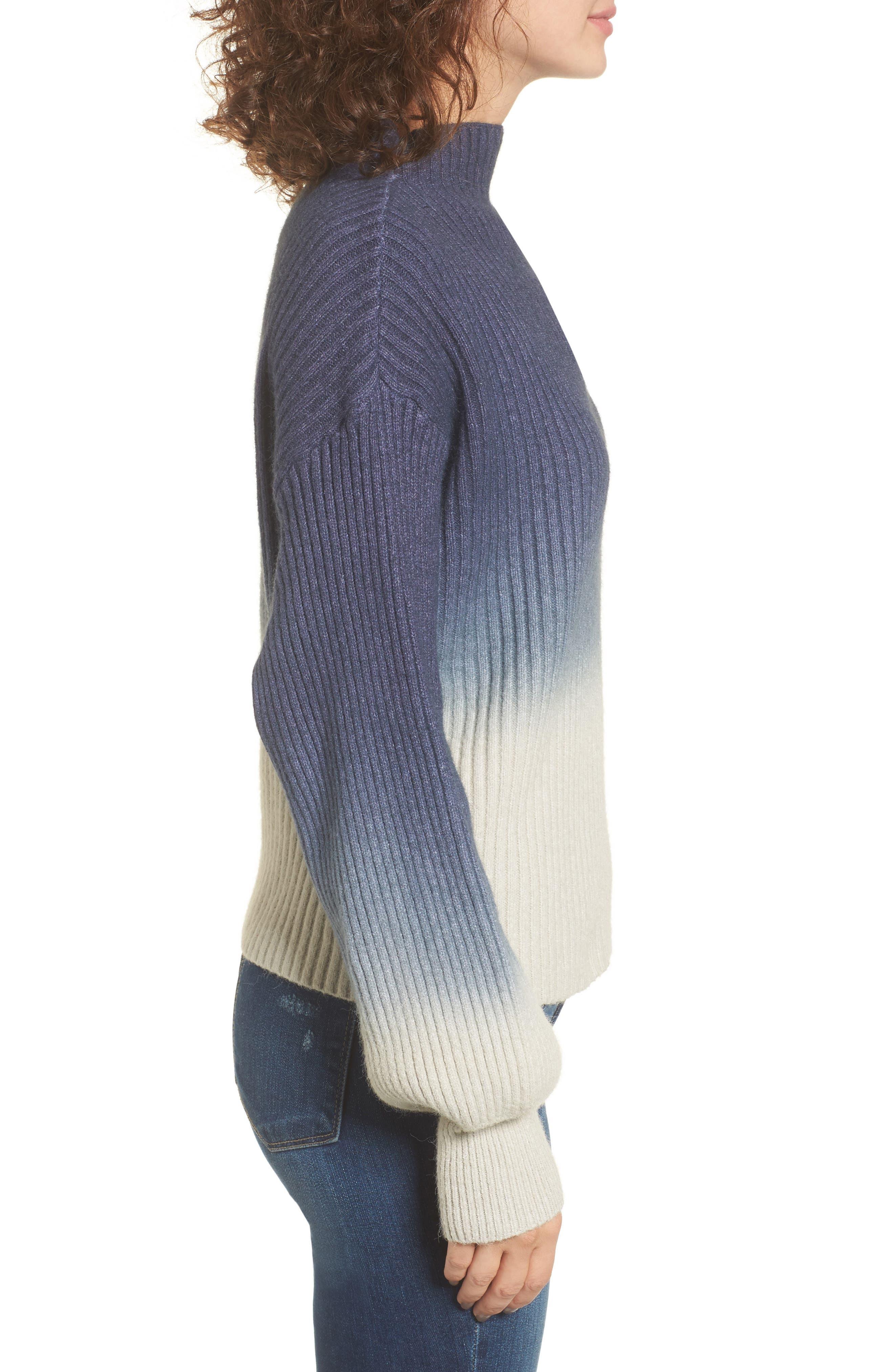 Ombré Sweater,                             Alternate thumbnail 3, color,                             Blue/ White