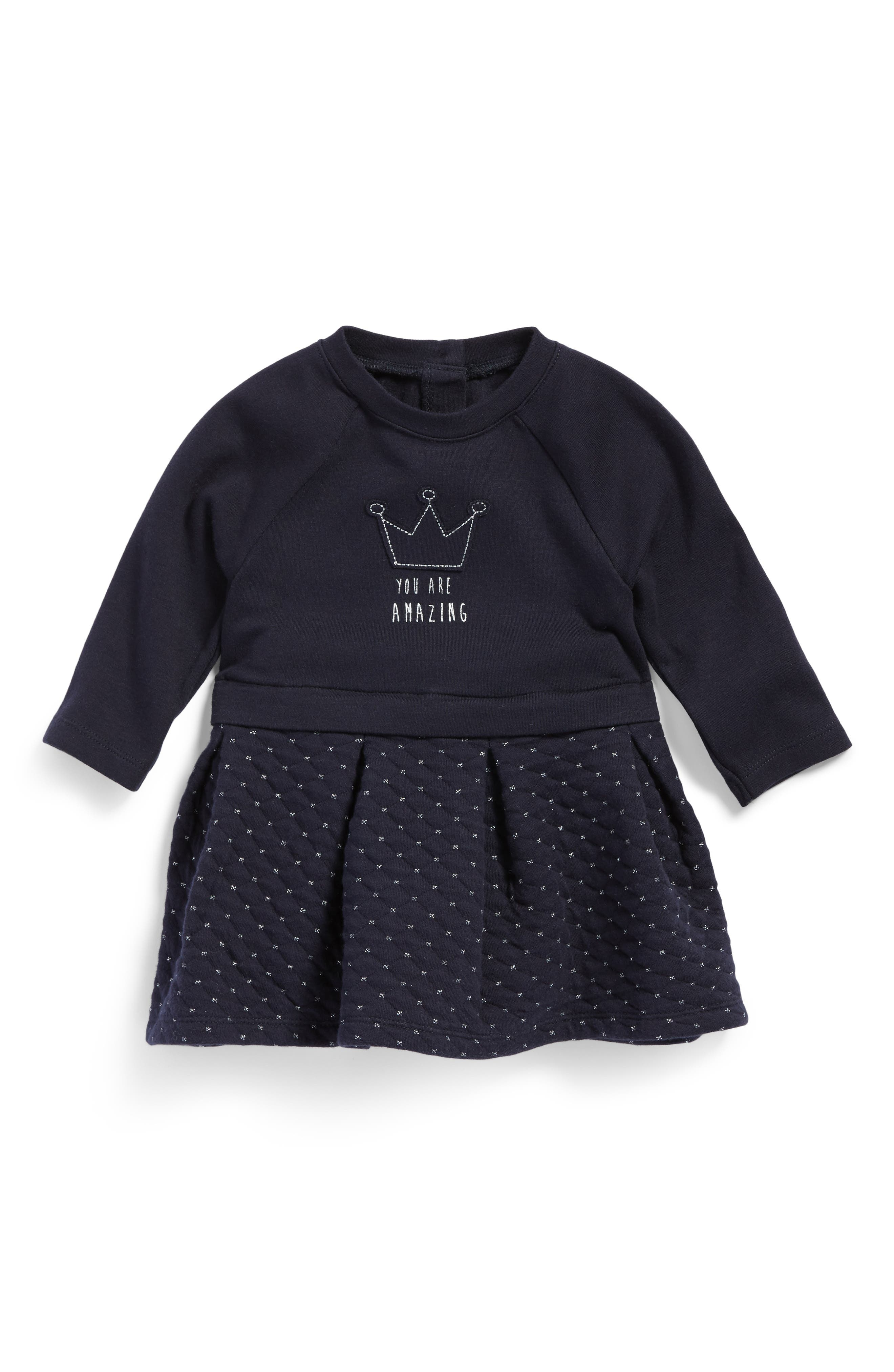 Quilted Knit Dress,                         Main,                         color, Navy