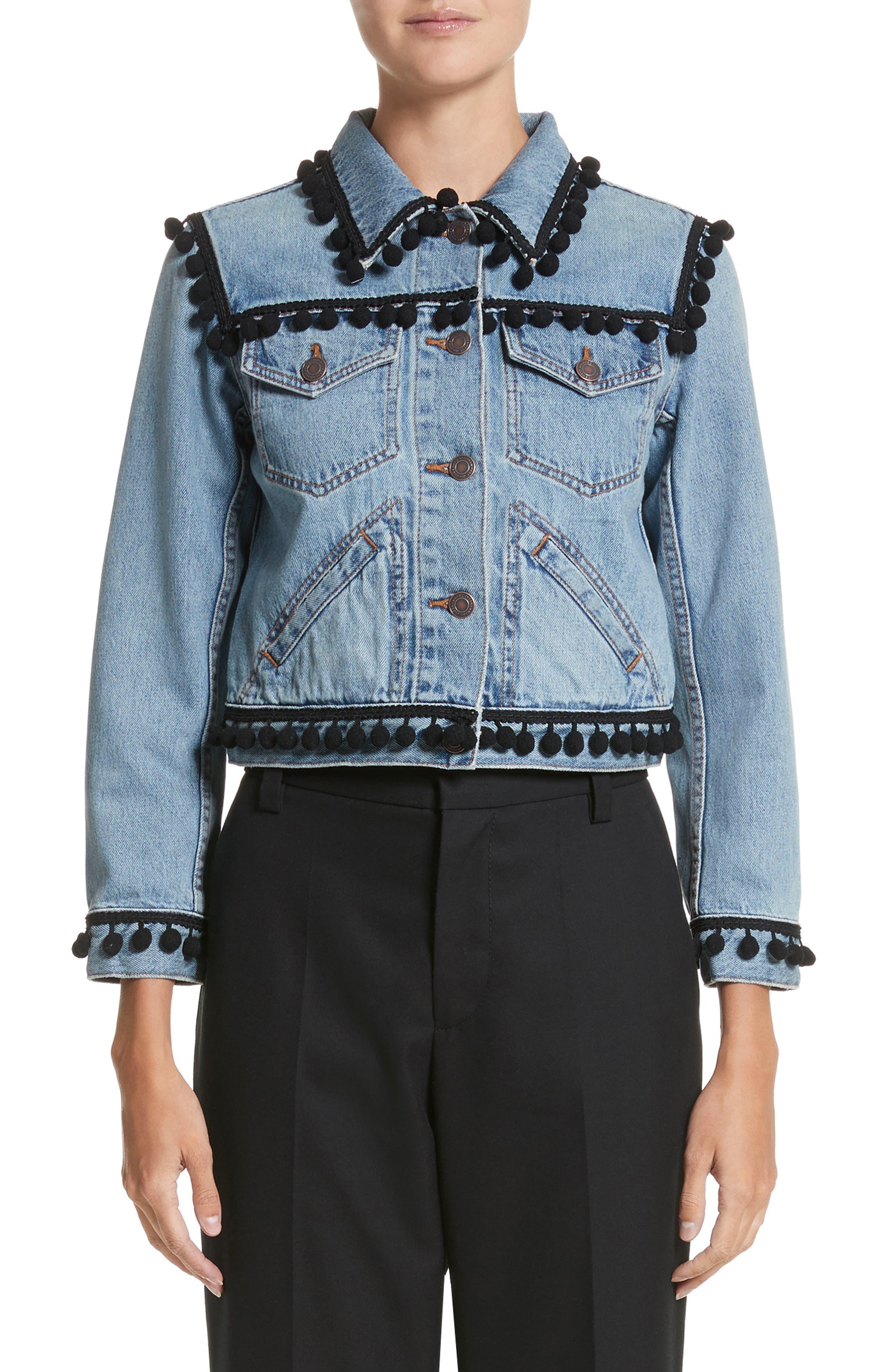 Pompom Trim Shrunken Denim Jacket,                         Main,                         color, Vintage Indigo