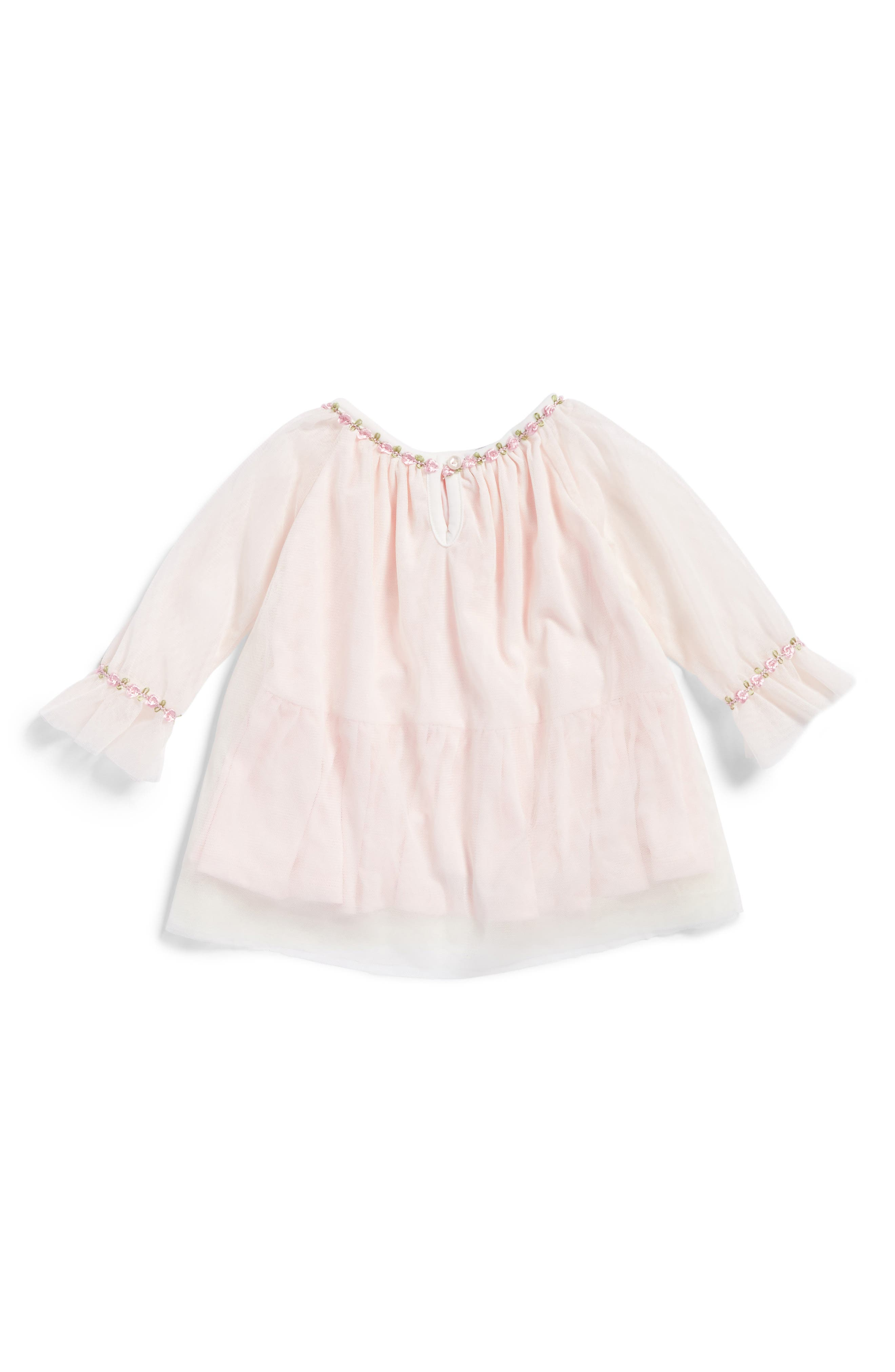Alternate Image 2  - Kate Mack Embroidered Mesh Dress (Baby Girls)