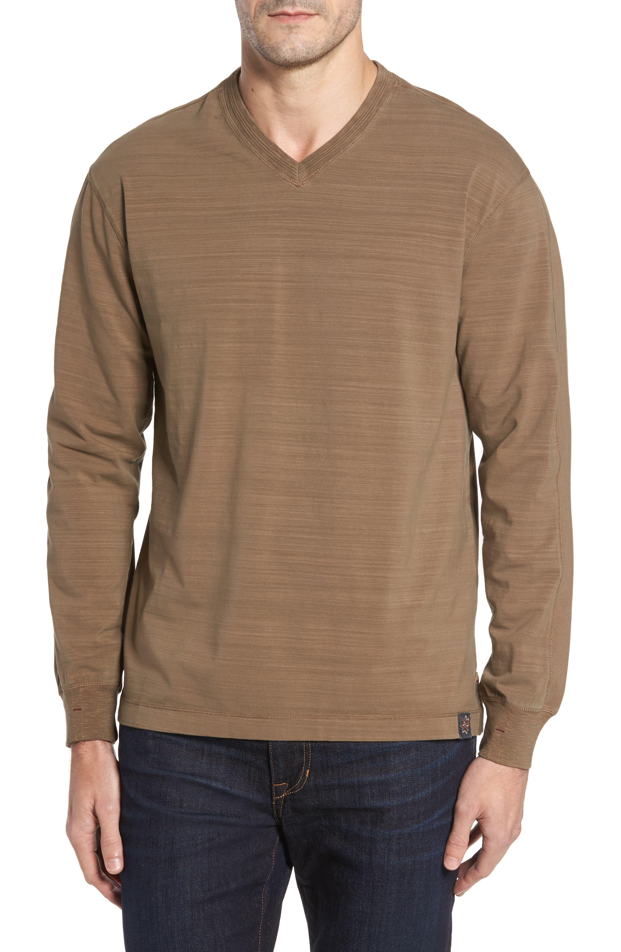 Thaddeus Vinn Slubbed Long Sleeve V-Neck T-Shirt
