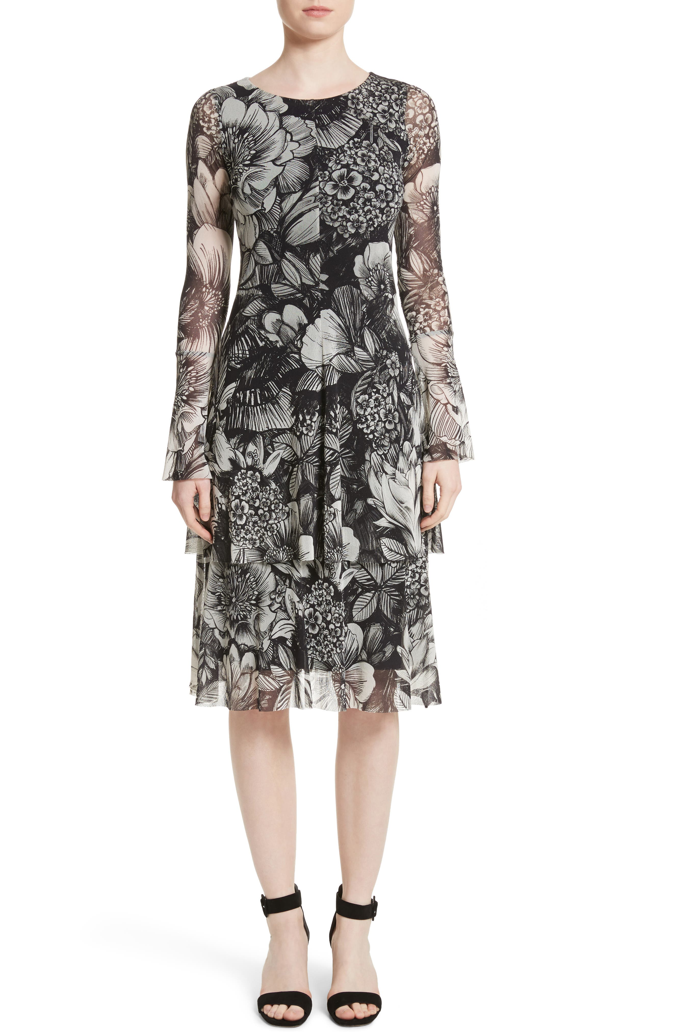 Ruffle Floral Print Tulle Dress,                         Main,                         color, Nero