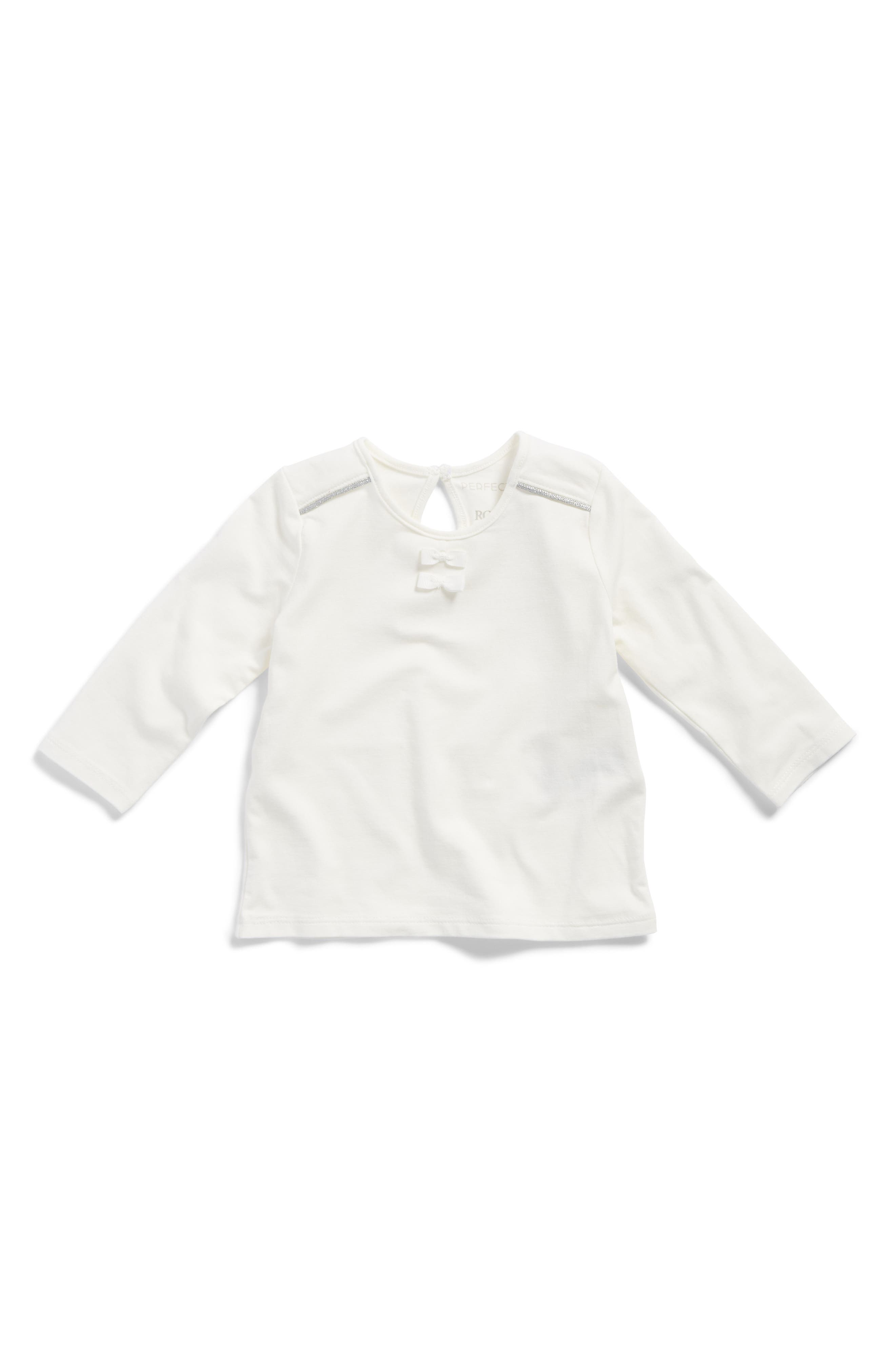 Main Image - Robeez® Bow Trim Knit Top (Baby Girls)