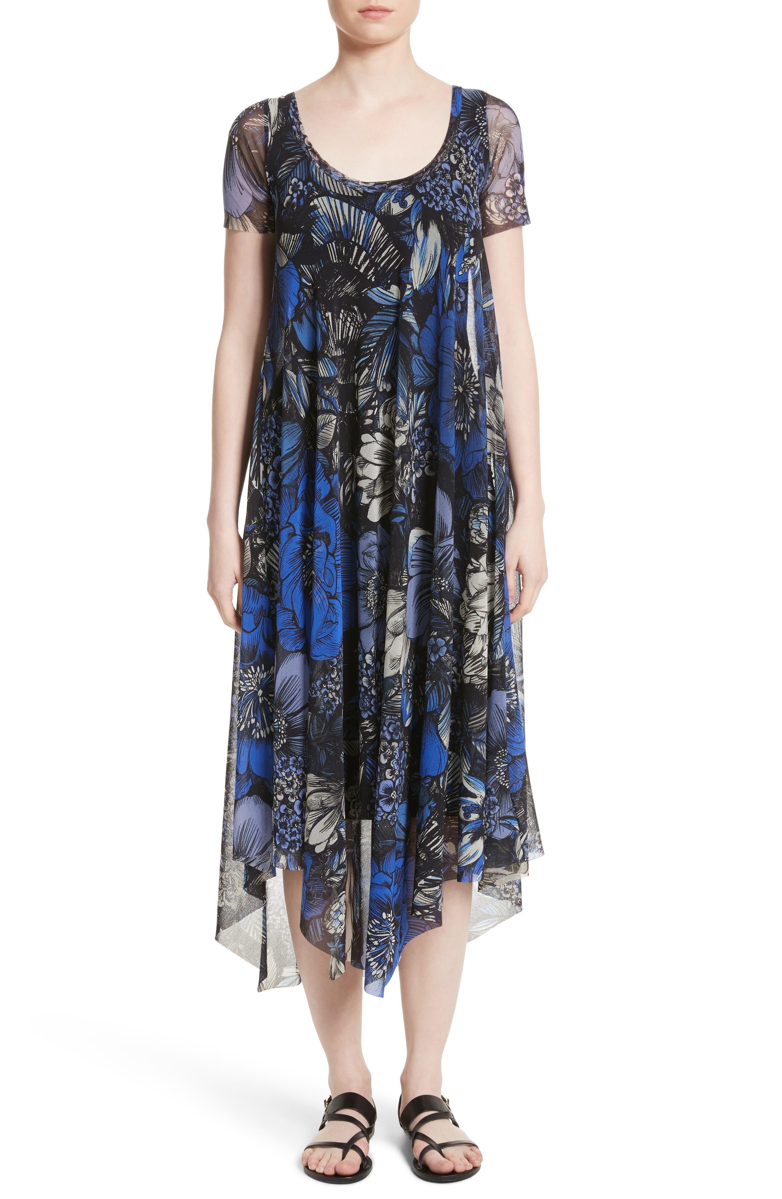 Print Tulle Handkerchief Hem Dress,                         Main,                         color, Oltremare