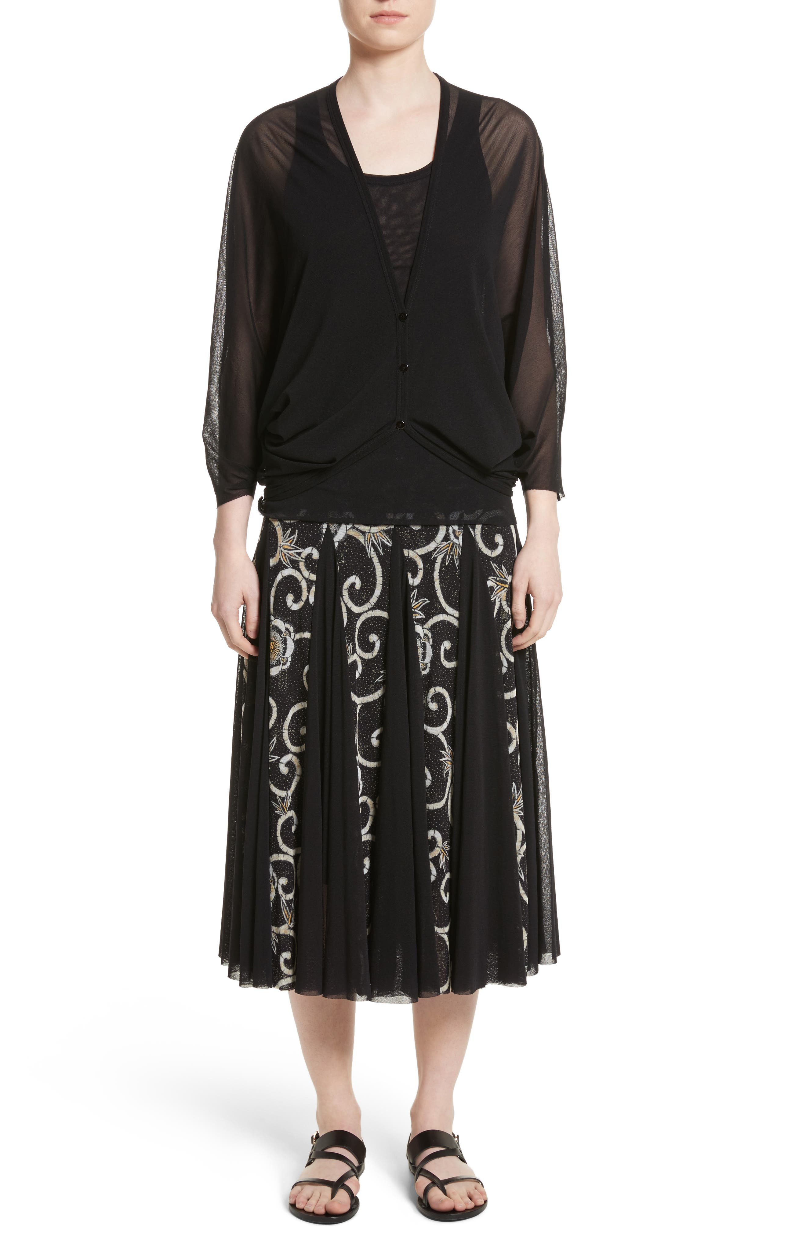 Tulle Cocoon Cardigan,                             Alternate thumbnail 8, color,                             Nero