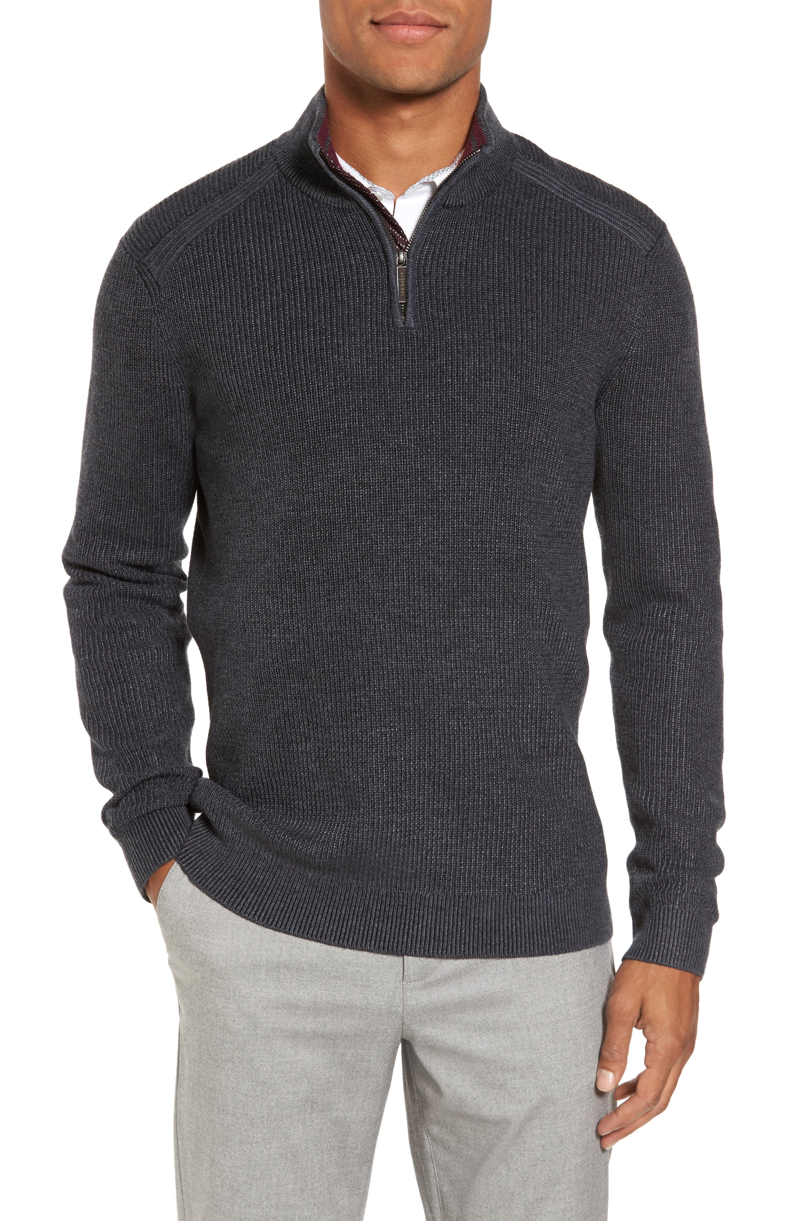 Slim Fit Quarter Zip Sweater,                         Main,                         color, Charcoal