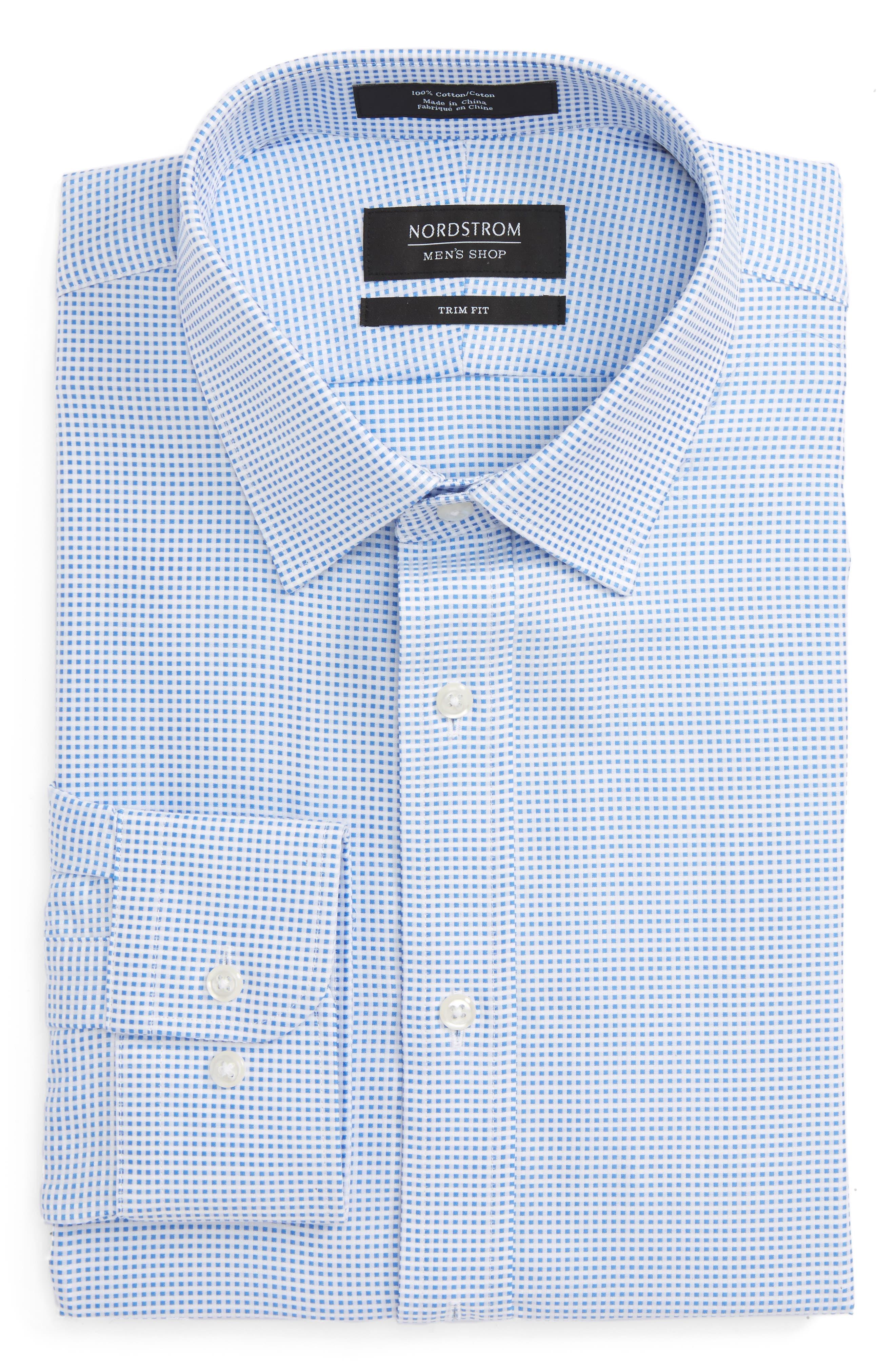 Main Image - Nordstrom Men's Shop Trim Fit Check Dress Shirt