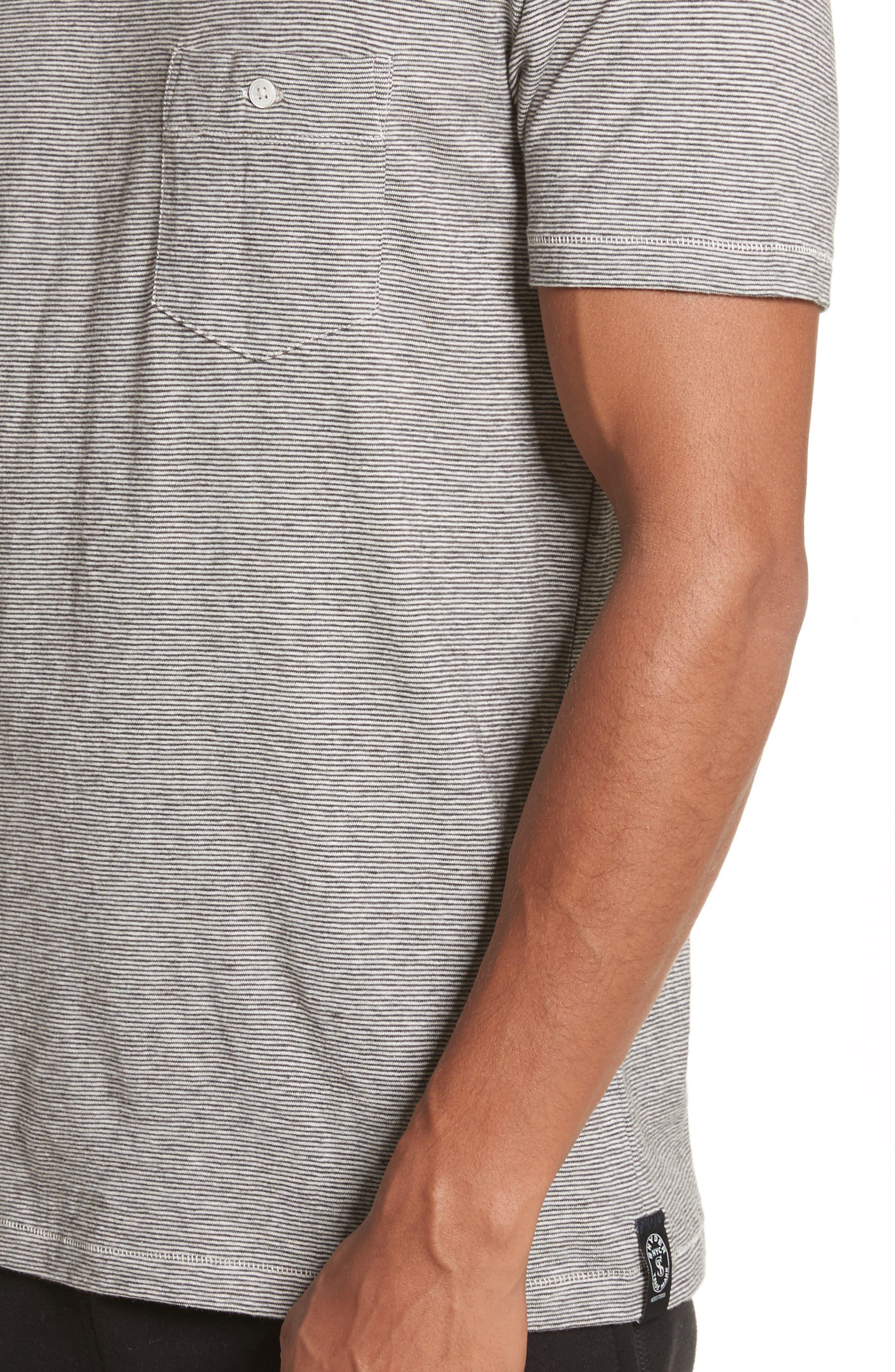 Microstripe Pocket T-Shirt,                             Alternate thumbnail 4, color,                             Ivory