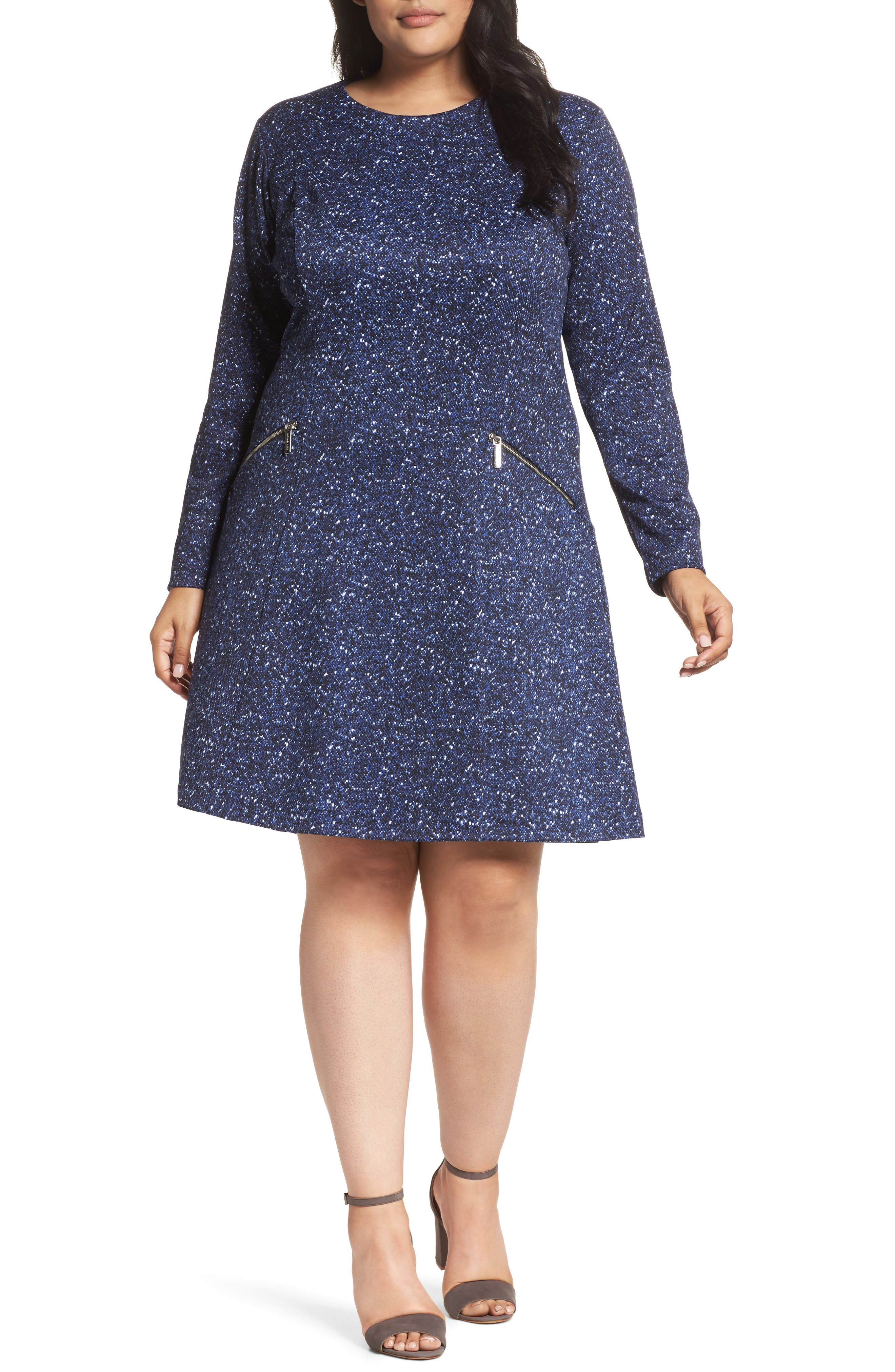 Tweed Print A-Line Dress,                         Main,                         color, Royal