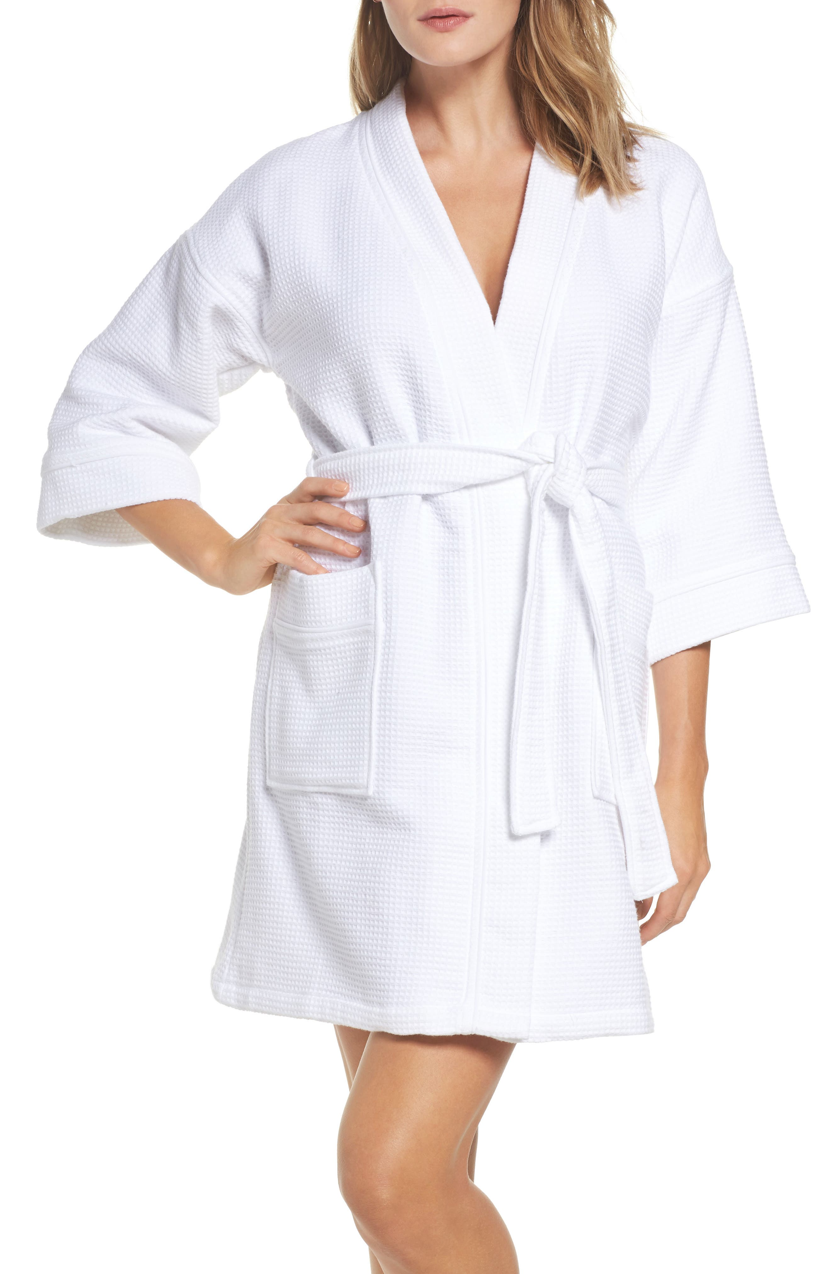 Waffle Knit Short Robe,                         Main,                         color, White