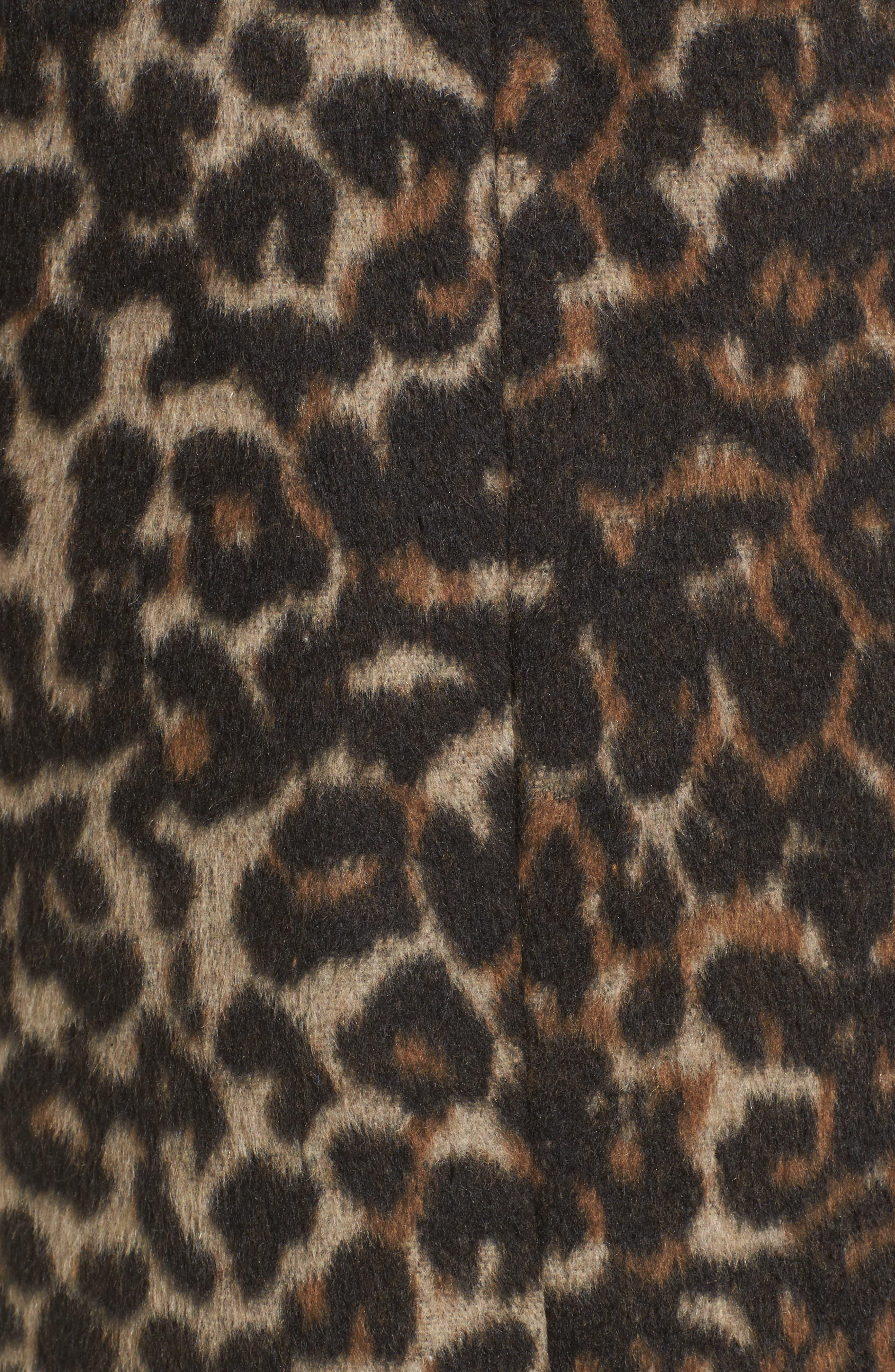 Longline Leopard Print Coat,                             Alternate thumbnail 5, color,                             Black Leopard
