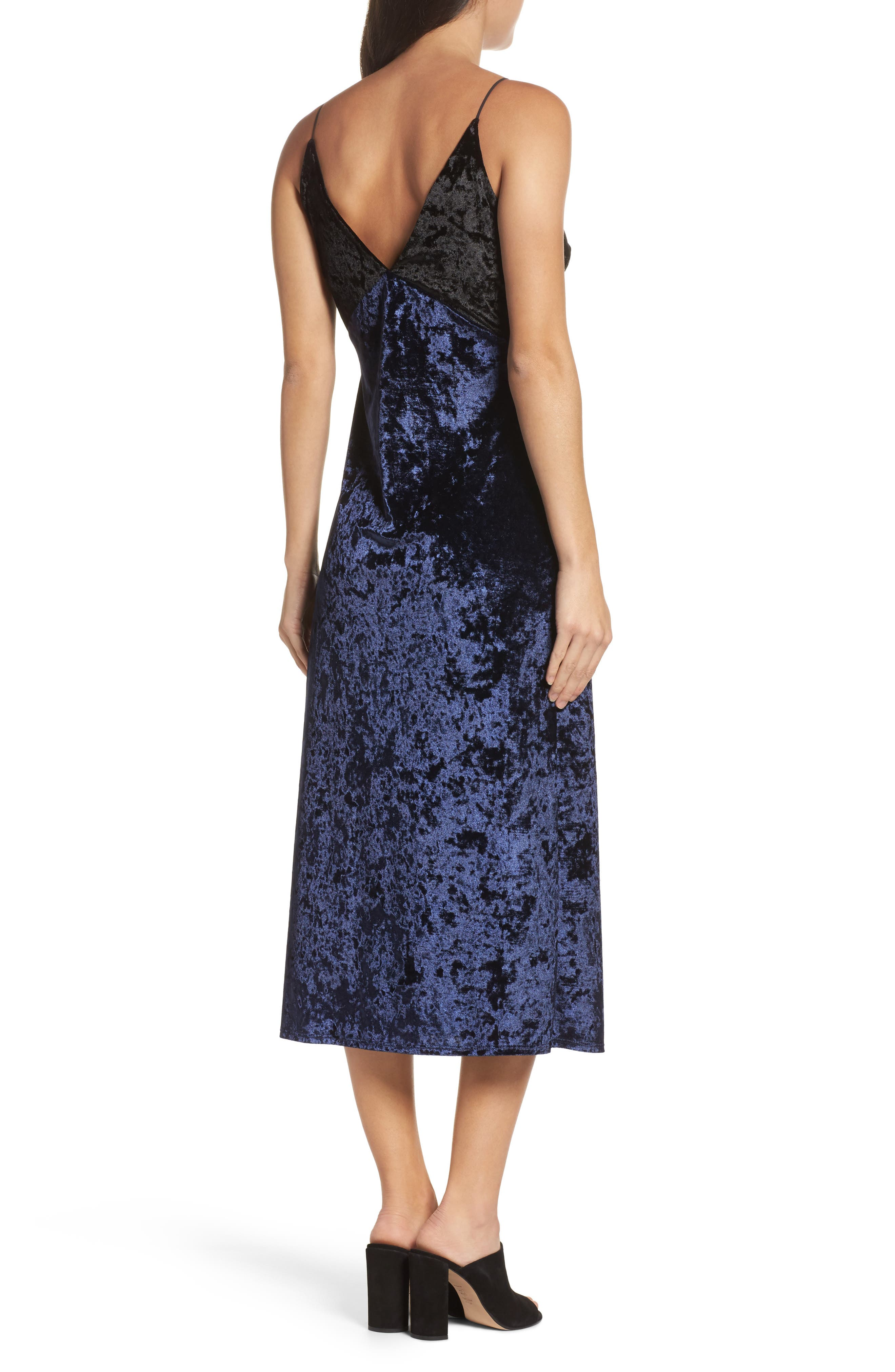 Crushed Velvet Slipdress,                             Alternate thumbnail 2, color,                             Navy/ Black
