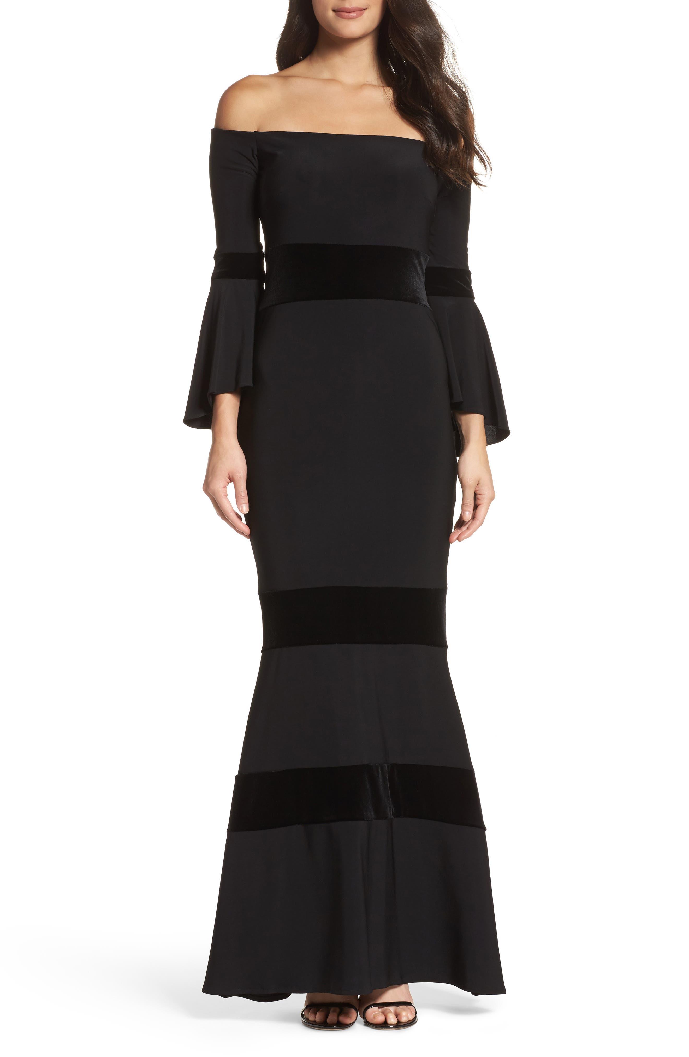Velvet Trim Off the Shoulder Mermaid Dress,                         Main,                         color, Black