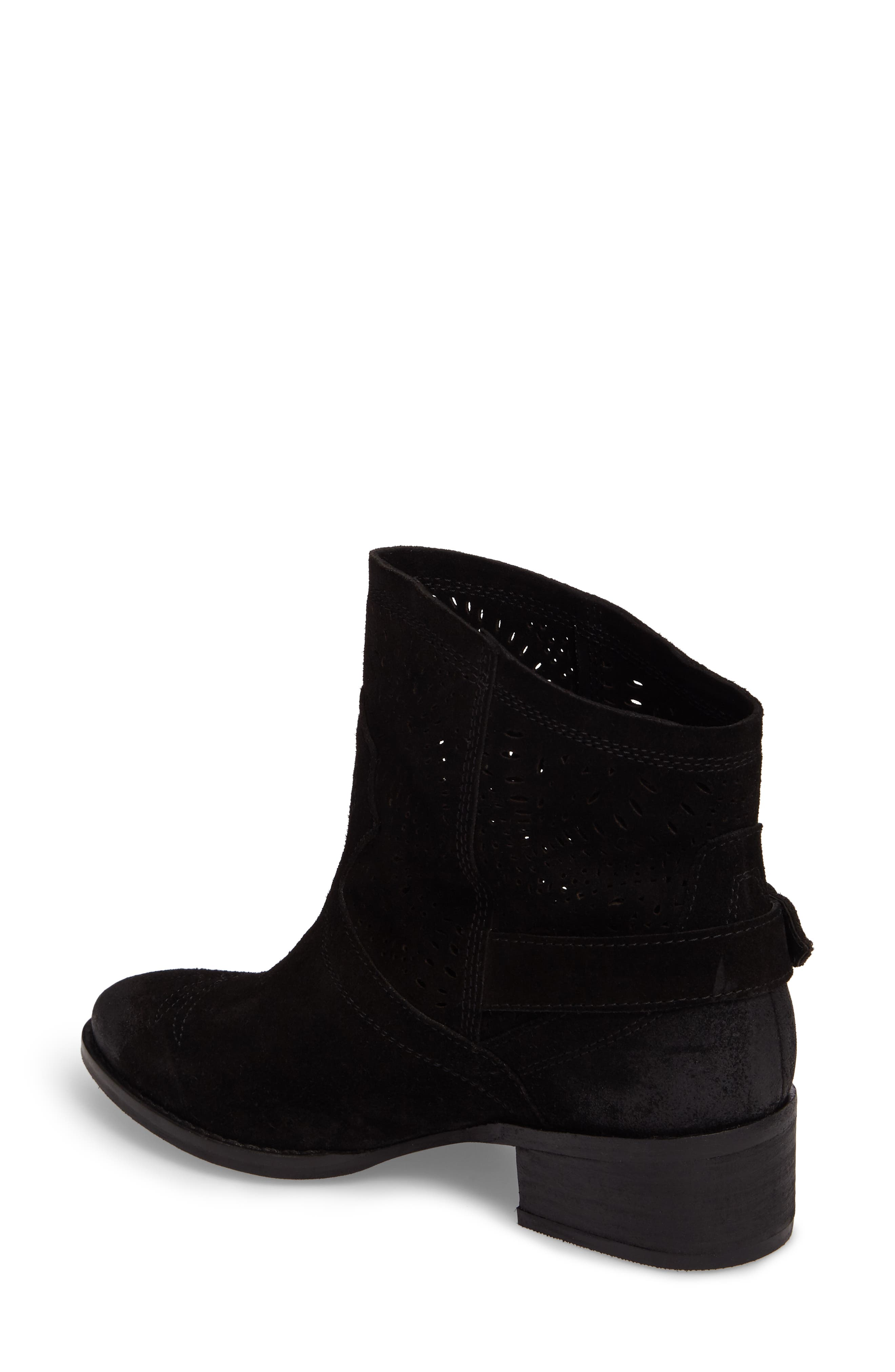 Zoey Perforated Bootie,                             Alternate thumbnail 2, color,                             Black Suede