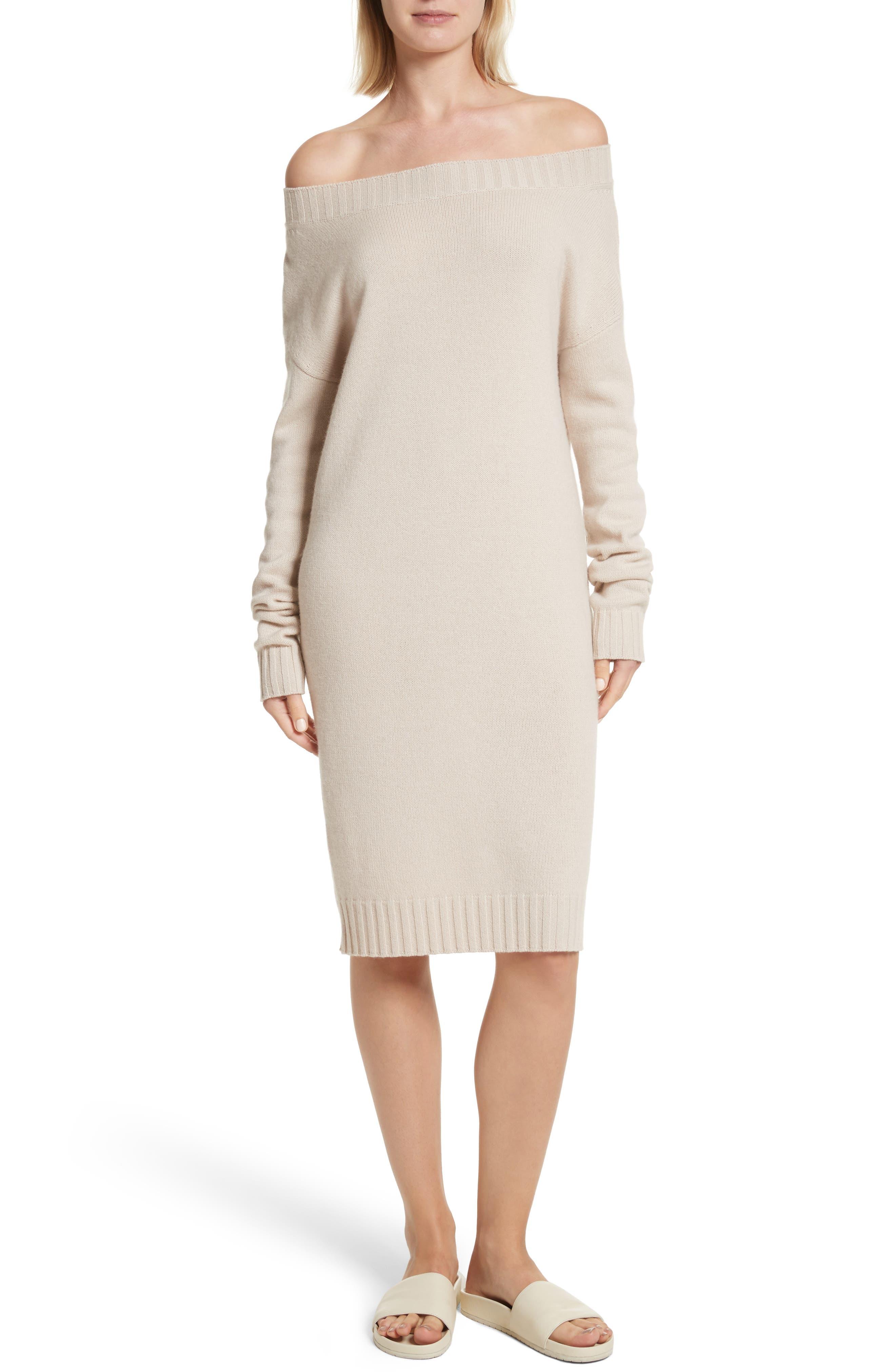 Vince Off the Shoulder Wool & Cashmere Sweater Dress