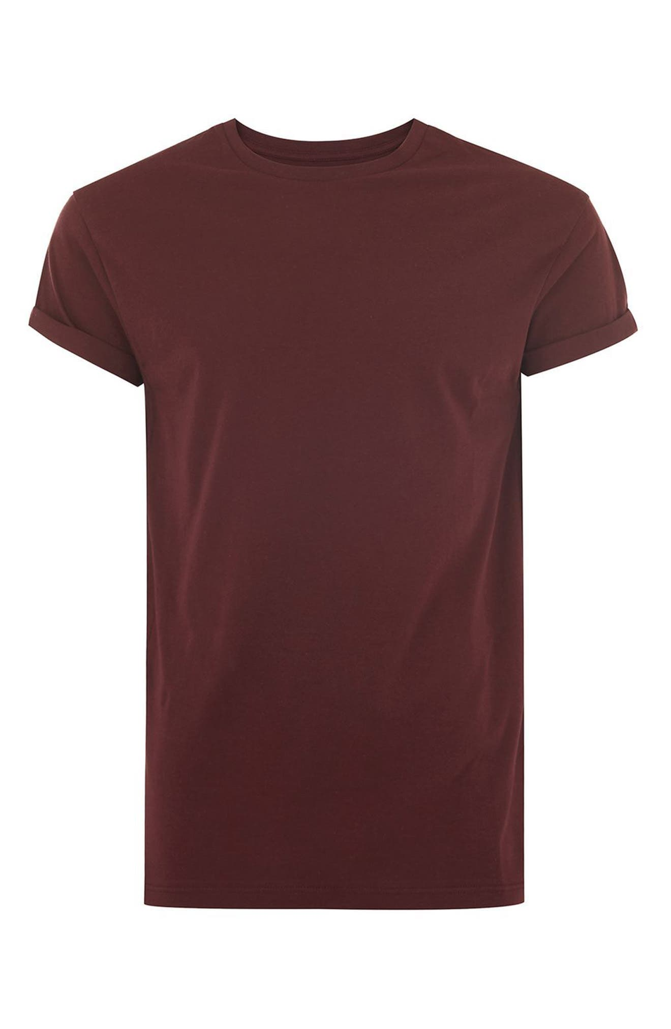 Muscle Fit Roller T-Shirt,                             Alternate thumbnail 4, color,                             Burgundy