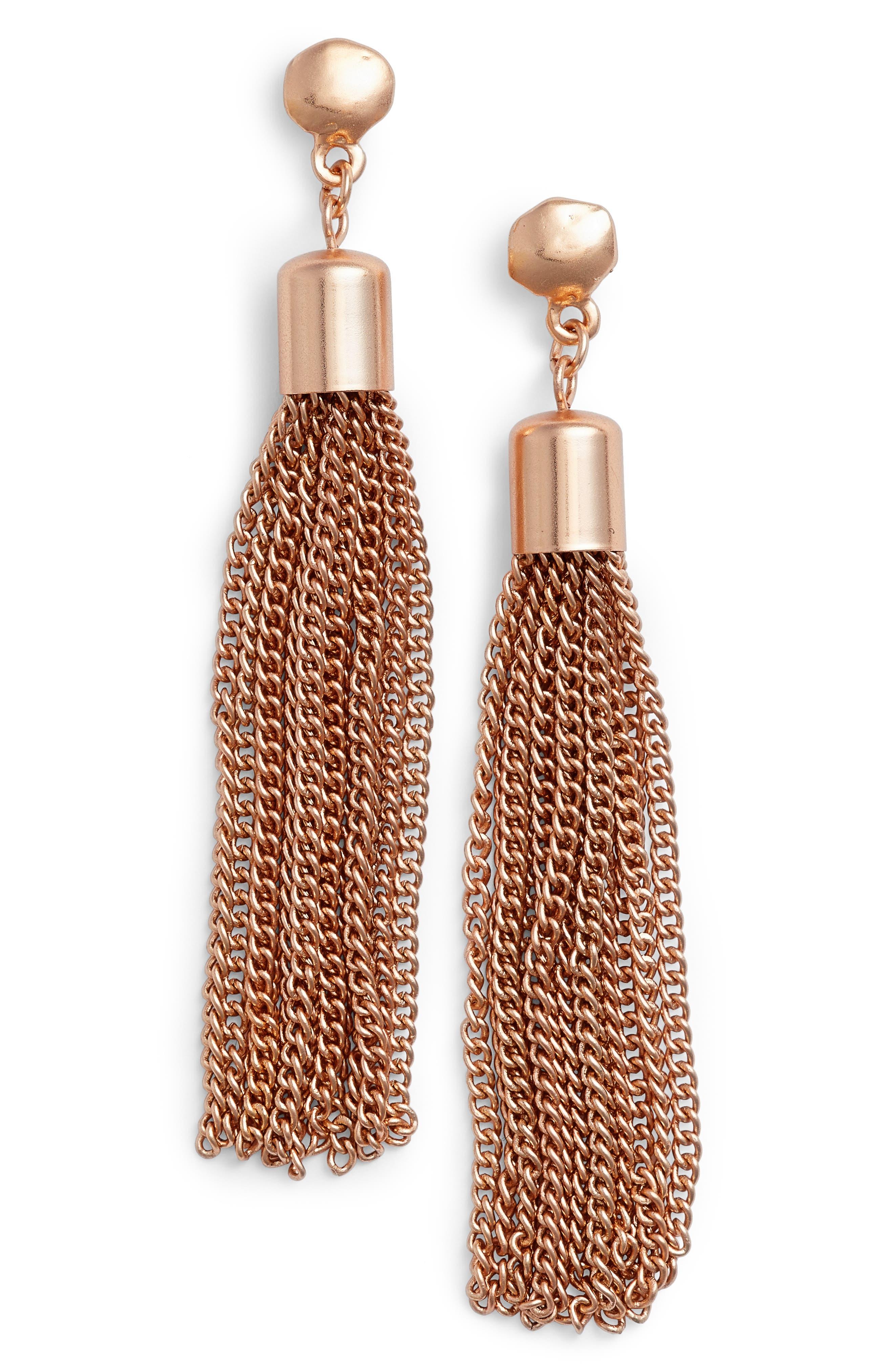 Tassel Drop Earrings,                             Main thumbnail 1, color,                             Rose Gold