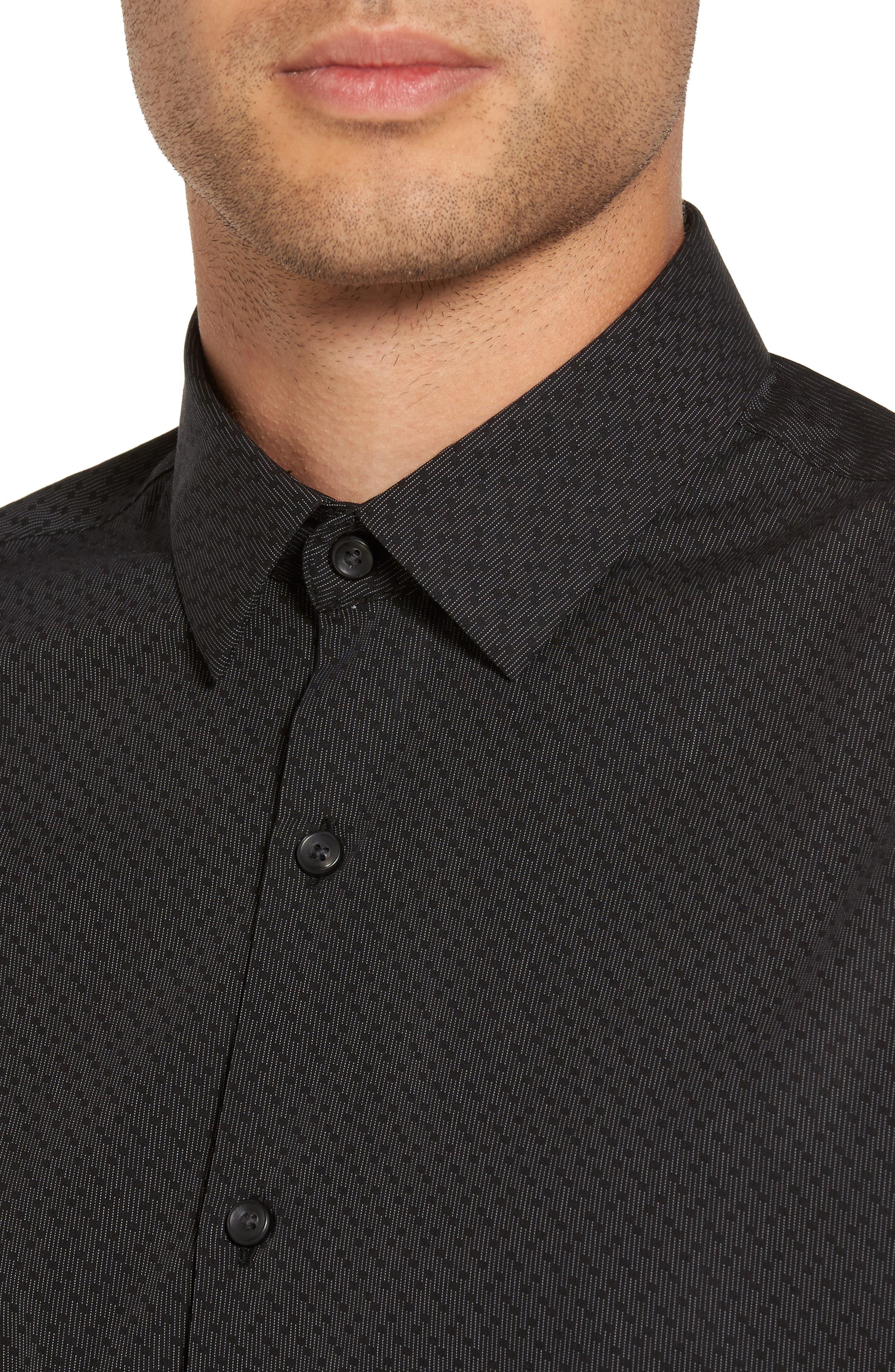 Trim Fit Print Sport Shirt,                             Alternate thumbnail 4, color,                             Black Caviar Dot Dobby