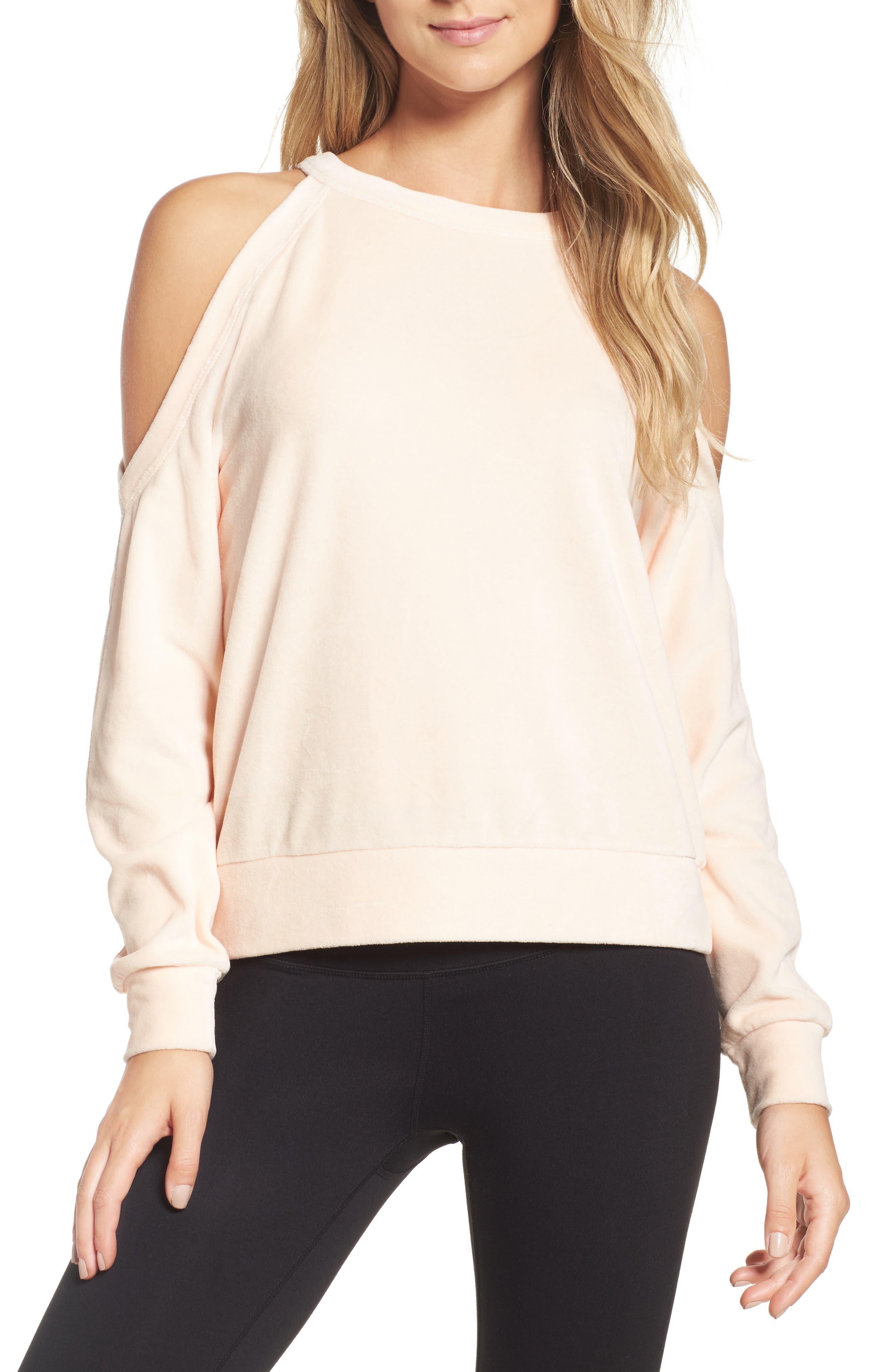 Cara Velour Cold Shoulder Top,                         Main,                         color, Pink Scallop