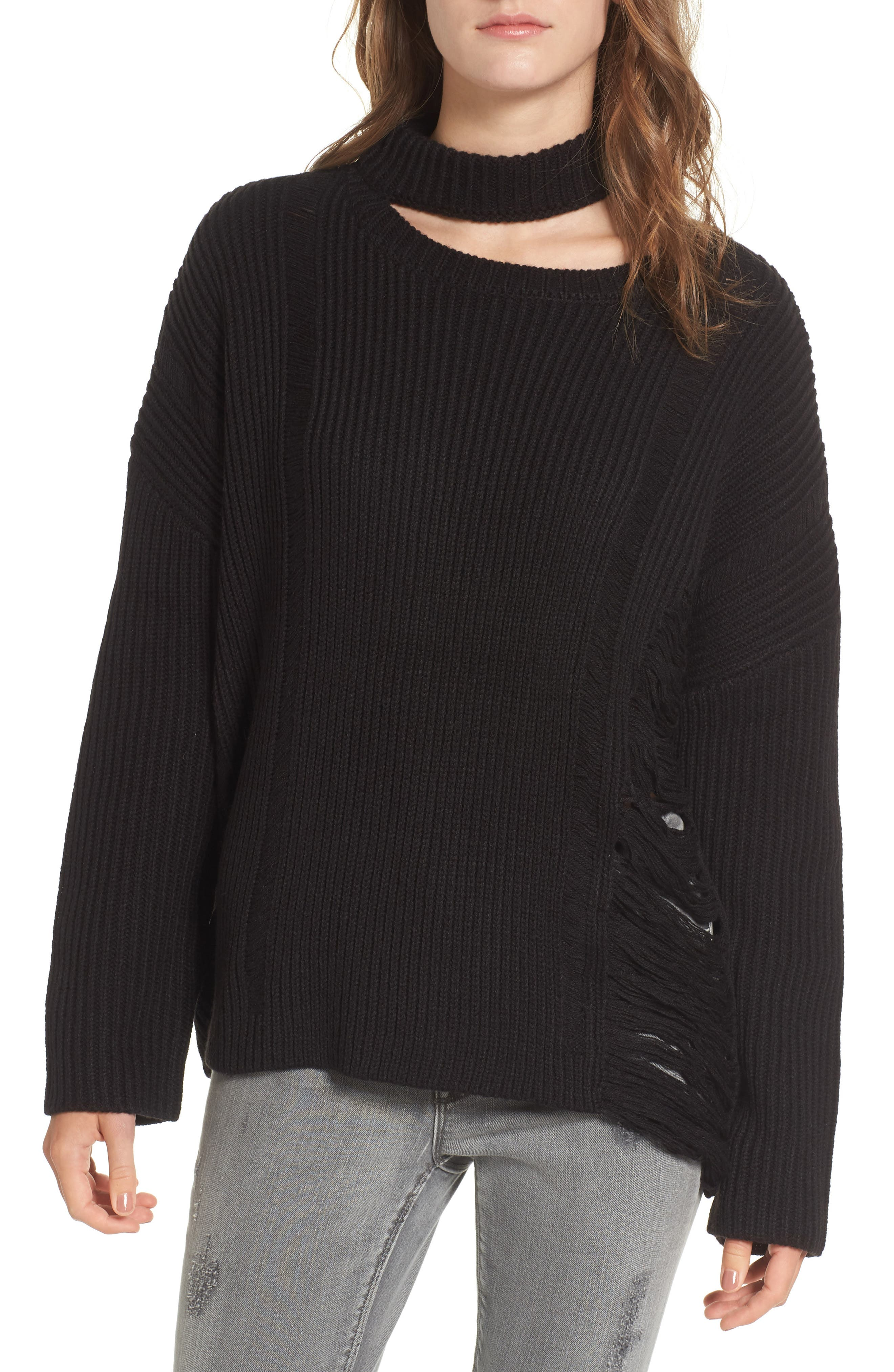 Destroyed Sweater,                             Main thumbnail 1, color,                             Black