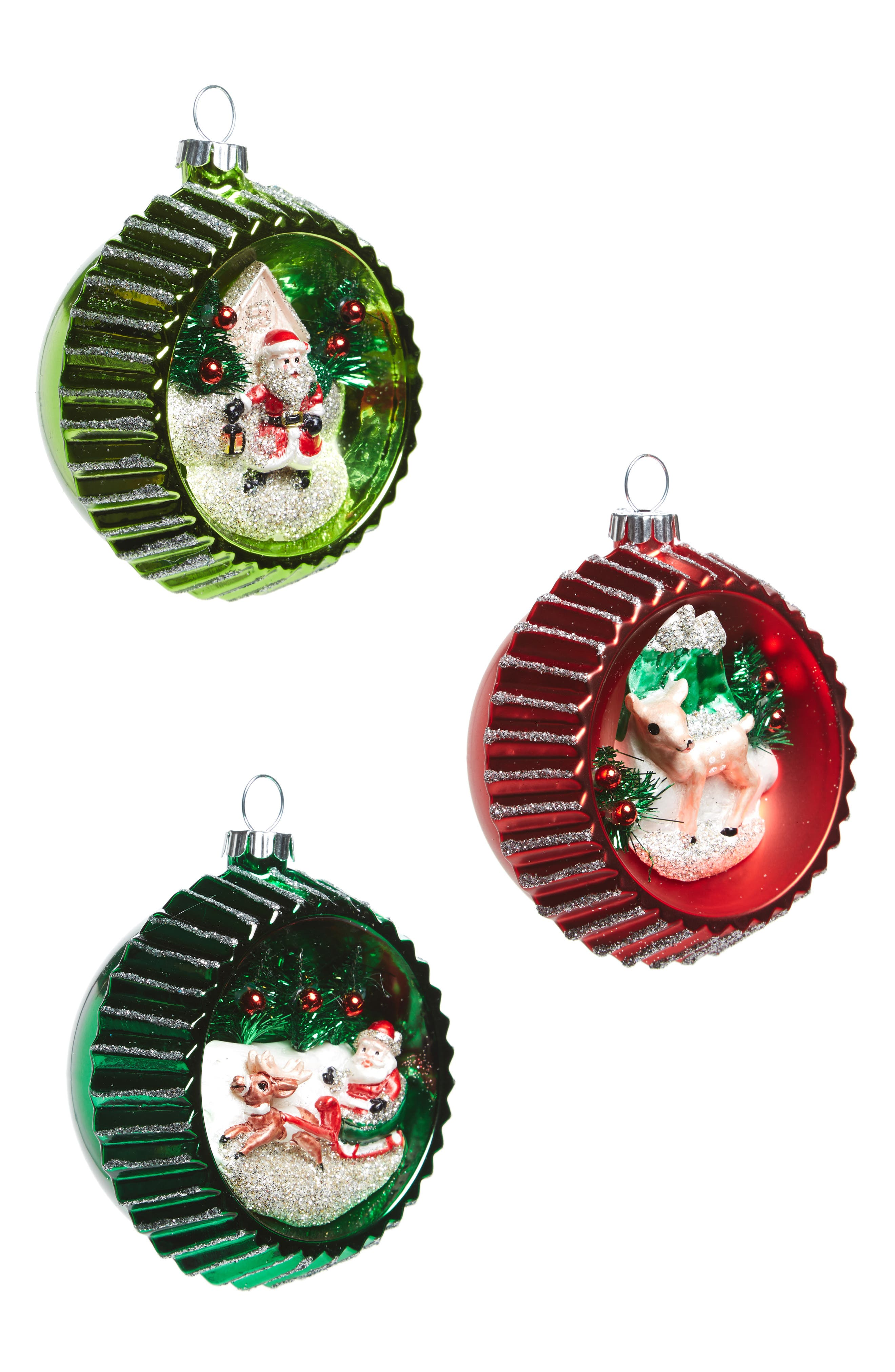 Holiday Splendor Set of 3 Glass Ornaments,                         Main,                         color, Red/ Multi