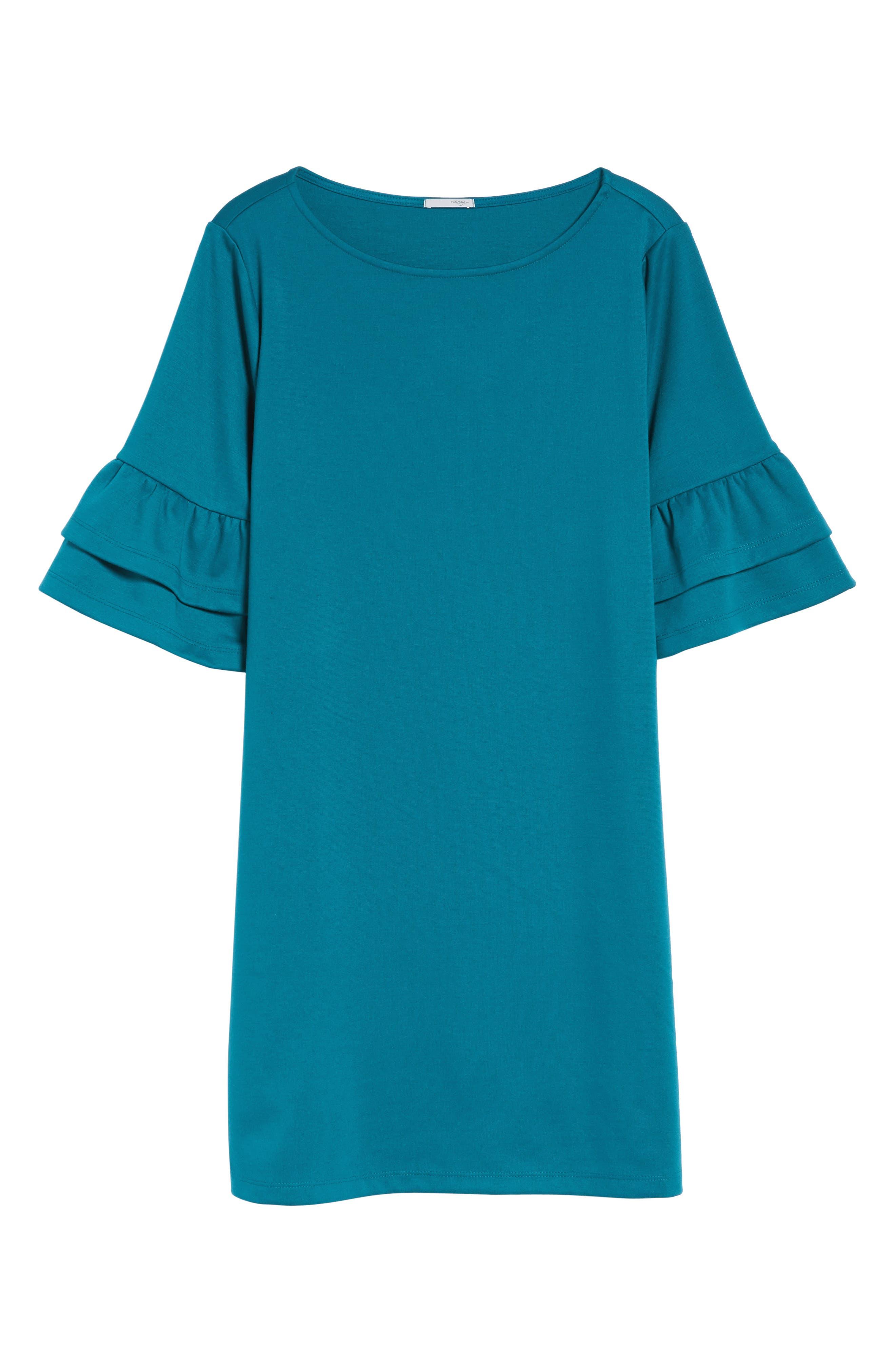 Ruffle Sleeve Shift Dress,                             Alternate thumbnail 6, color,                             Teal
