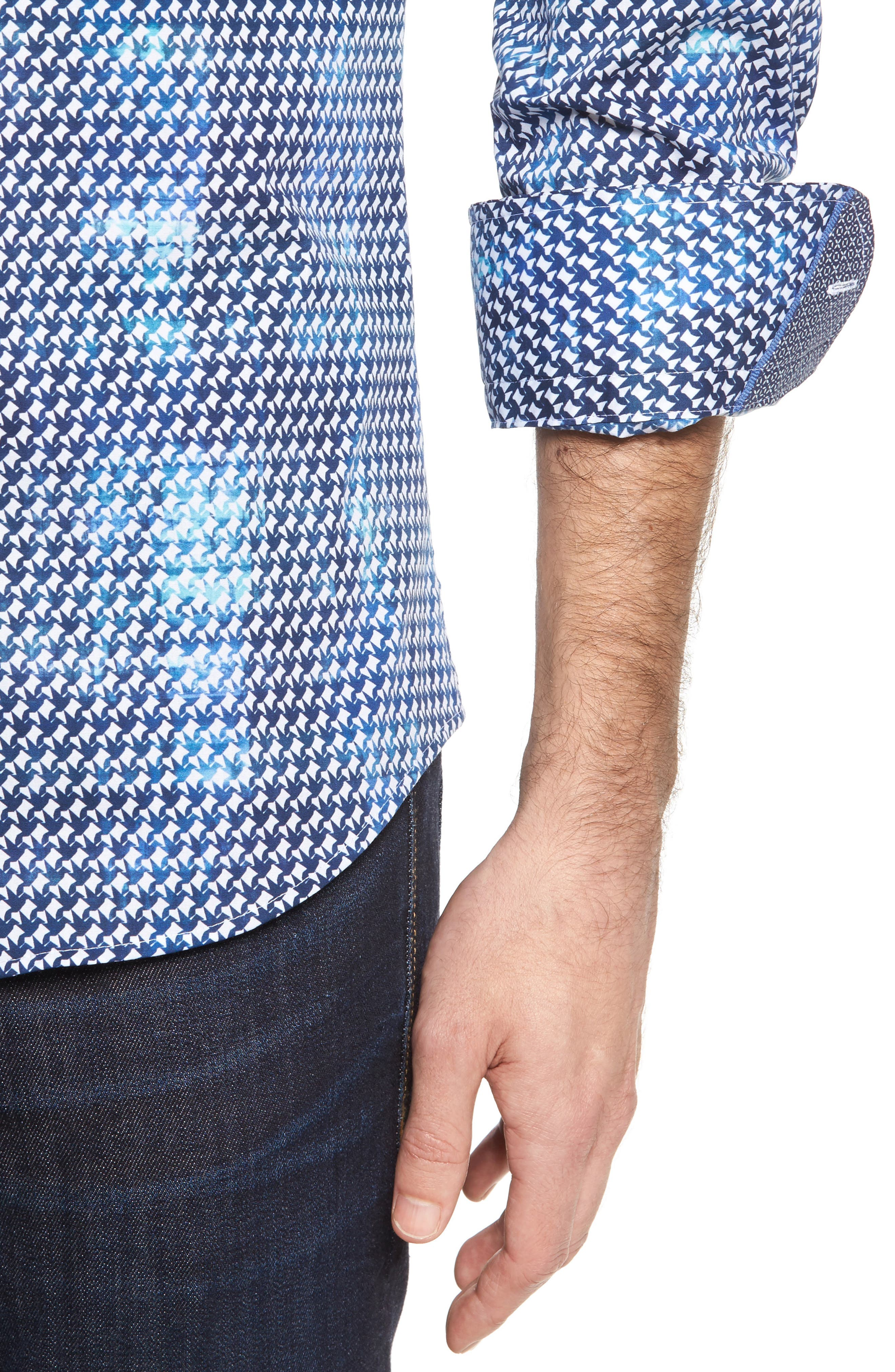 Slim Fit Origami FX Print Sport Shirt,                             Alternate thumbnail 4, color,                             Blue