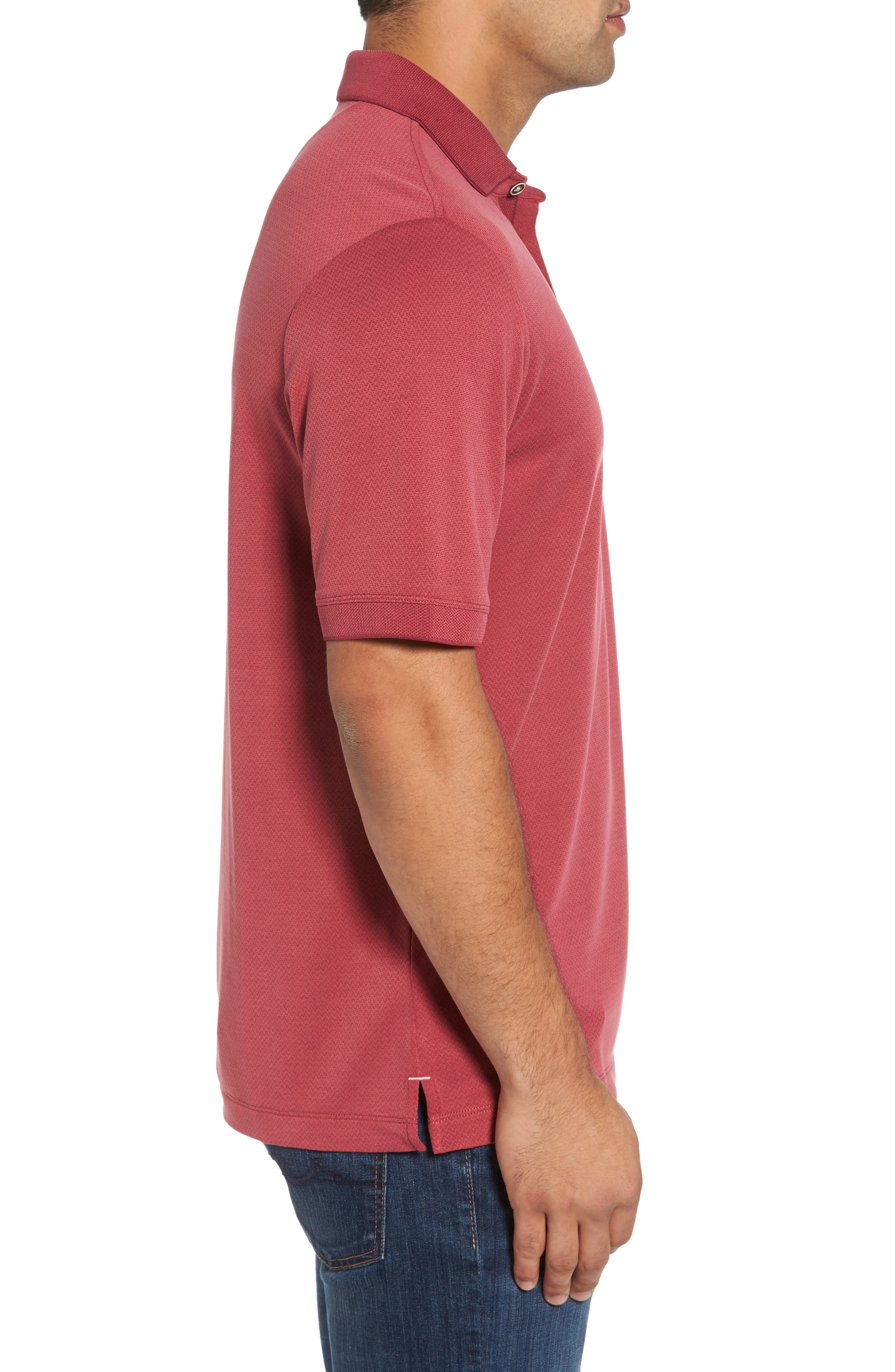 Ocean View Short Sleeve Jacquard Polo,                             Alternate thumbnail 3, color,                             Beet Red