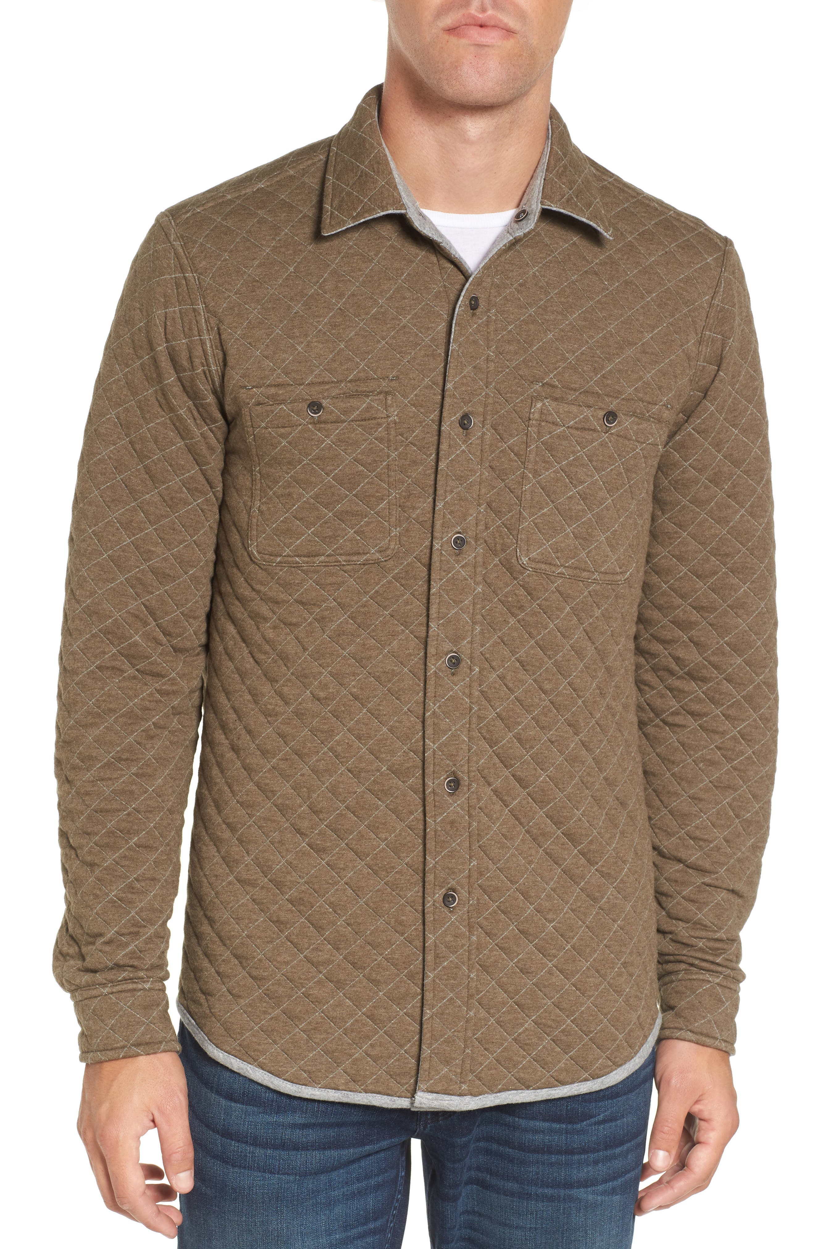 Reversible Double-Face Quilted Shirt,                             Alternate thumbnail 4, color,                             Med Grey Htr/ Army Htr Quilted