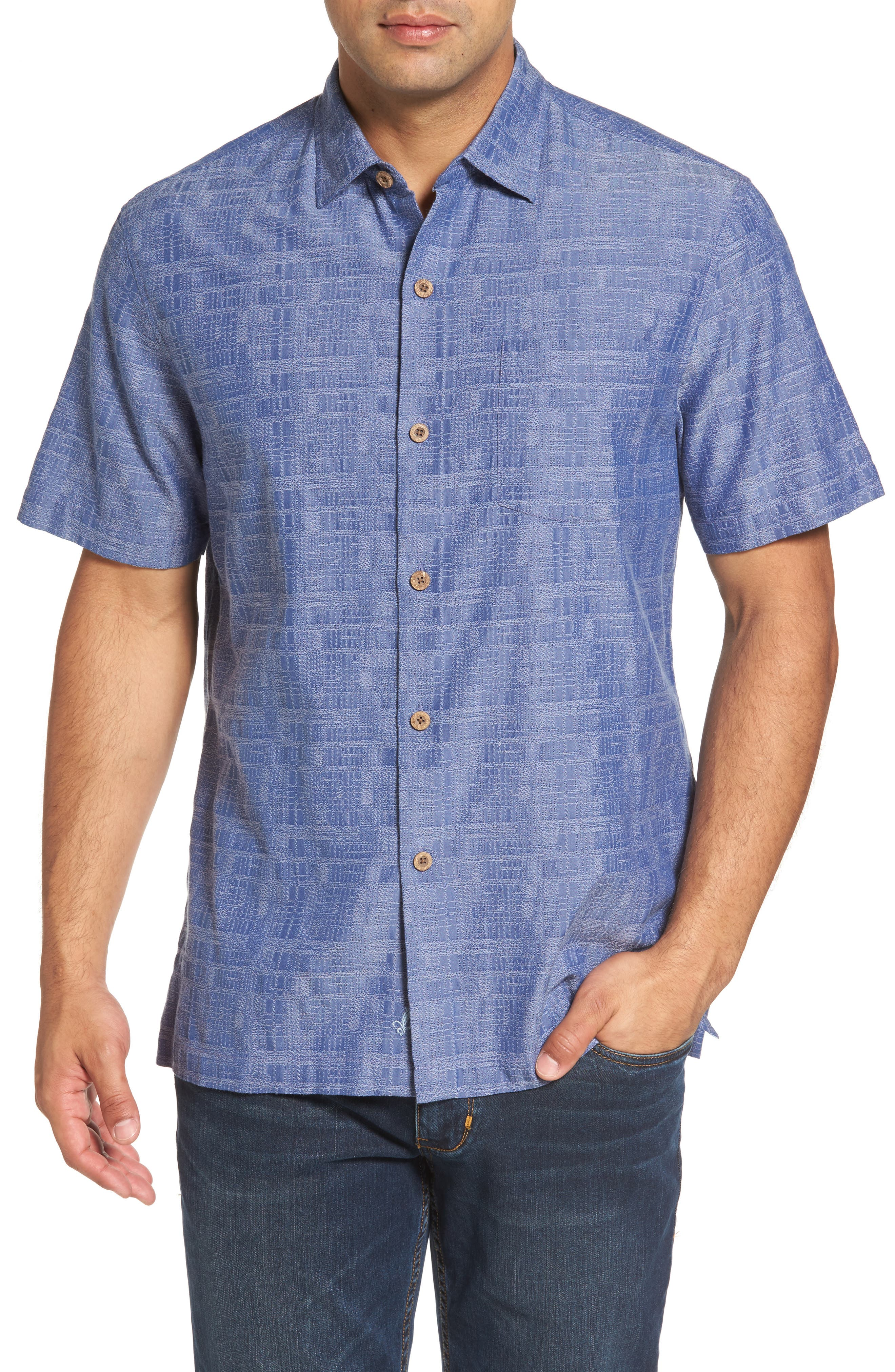 Getaway Grid Silk Blend Camp Shirt,                             Main thumbnail 1, color,                             Sanibel Blue