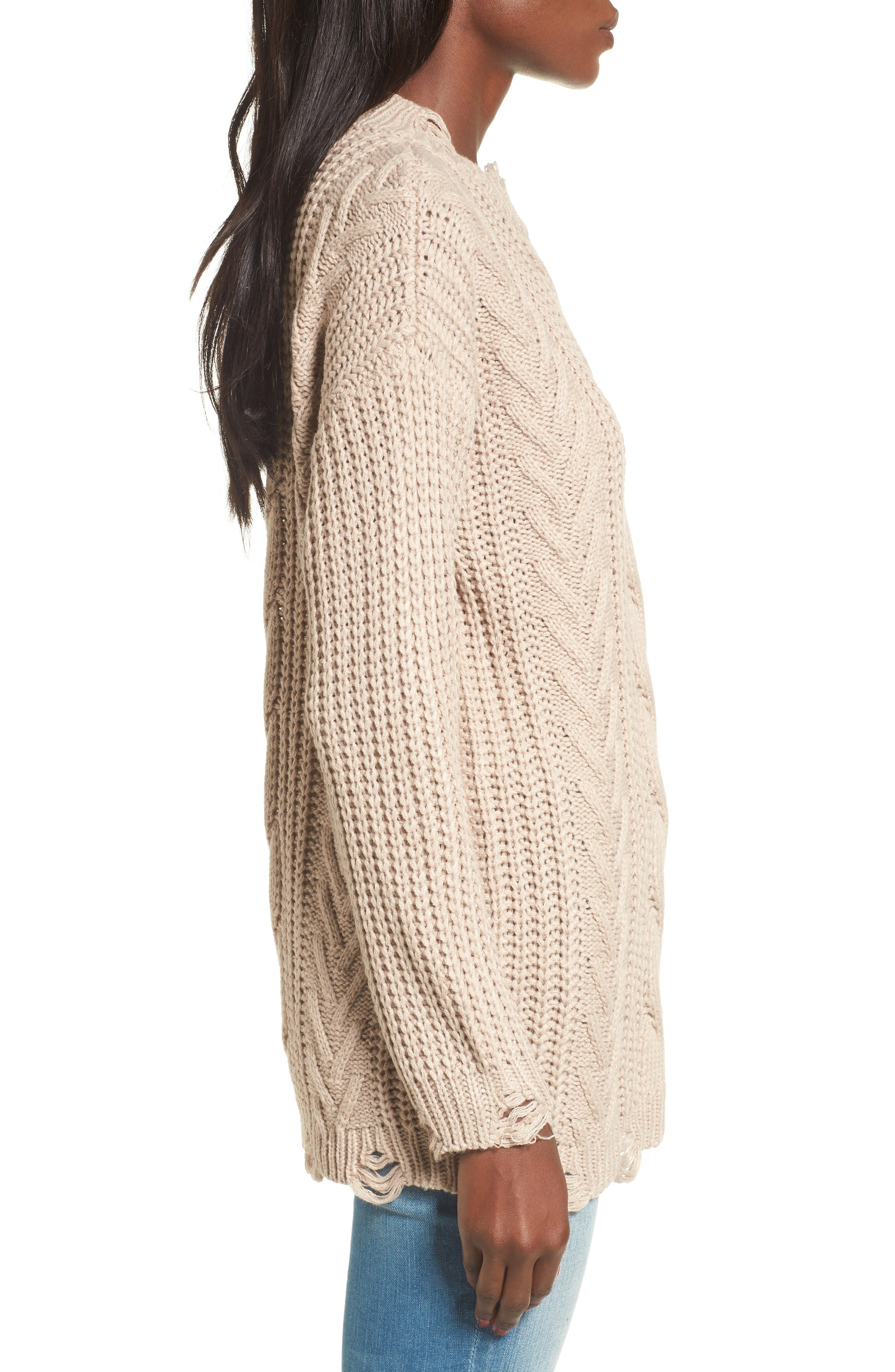 Distressed Cable Knit Sweater,                             Alternate thumbnail 3, color,                             Mocha