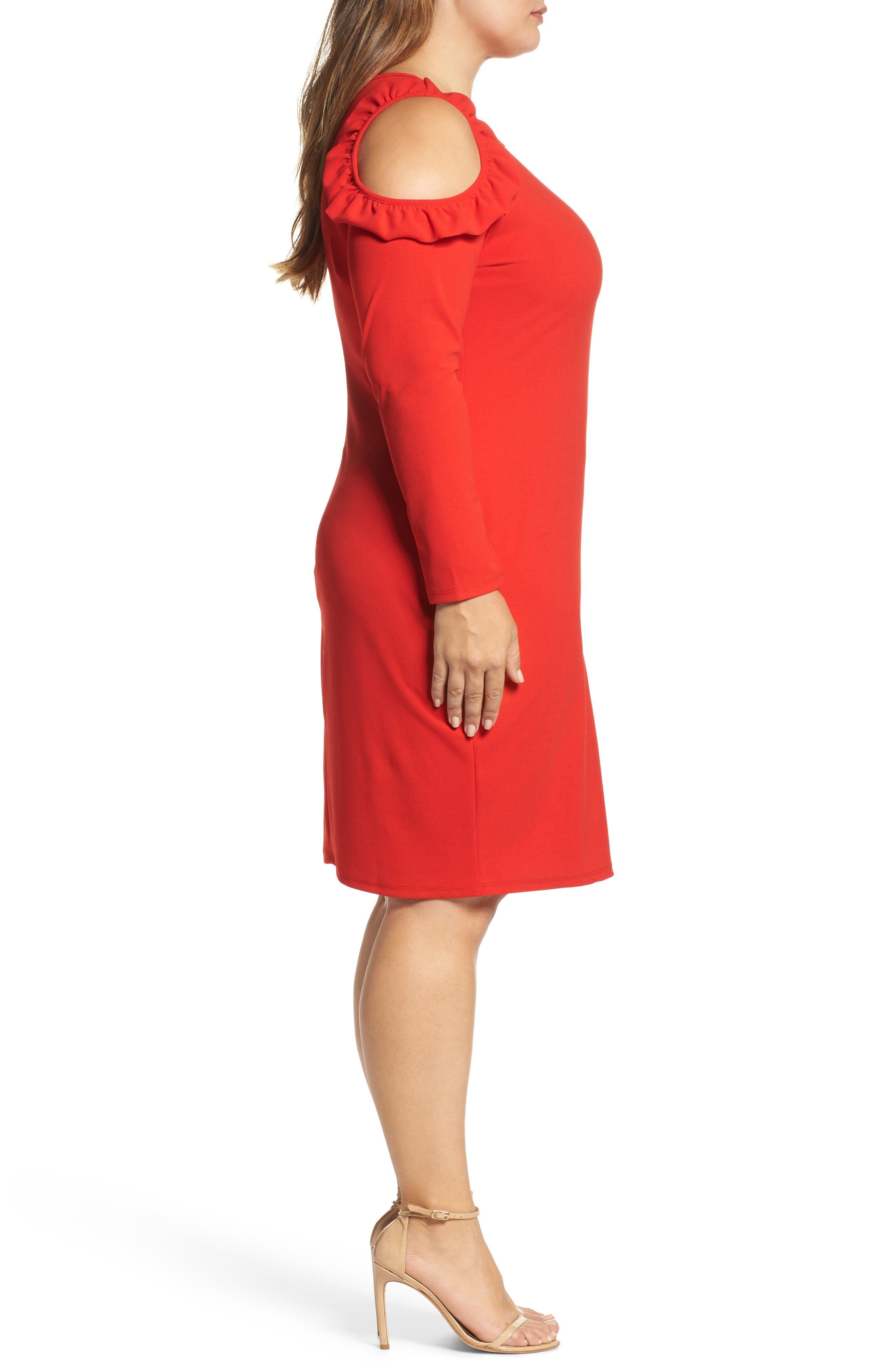 Cold Shoulder Knit Sheath Dress,                             Alternate thumbnail 3, color,                             Red