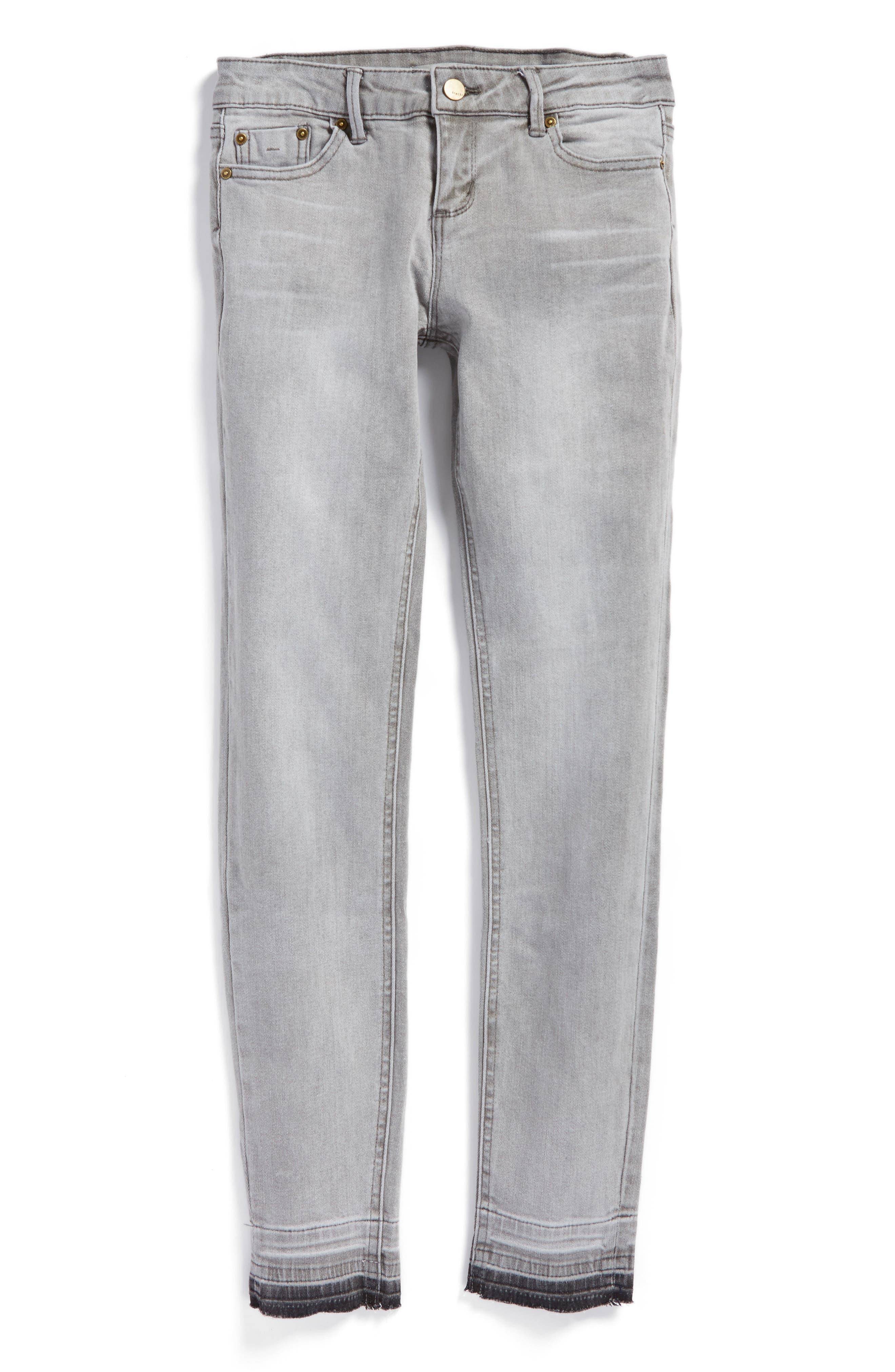 Alternate Image 1 Selected - Tractr Release Hem Skinny Jeans (Big Girls)