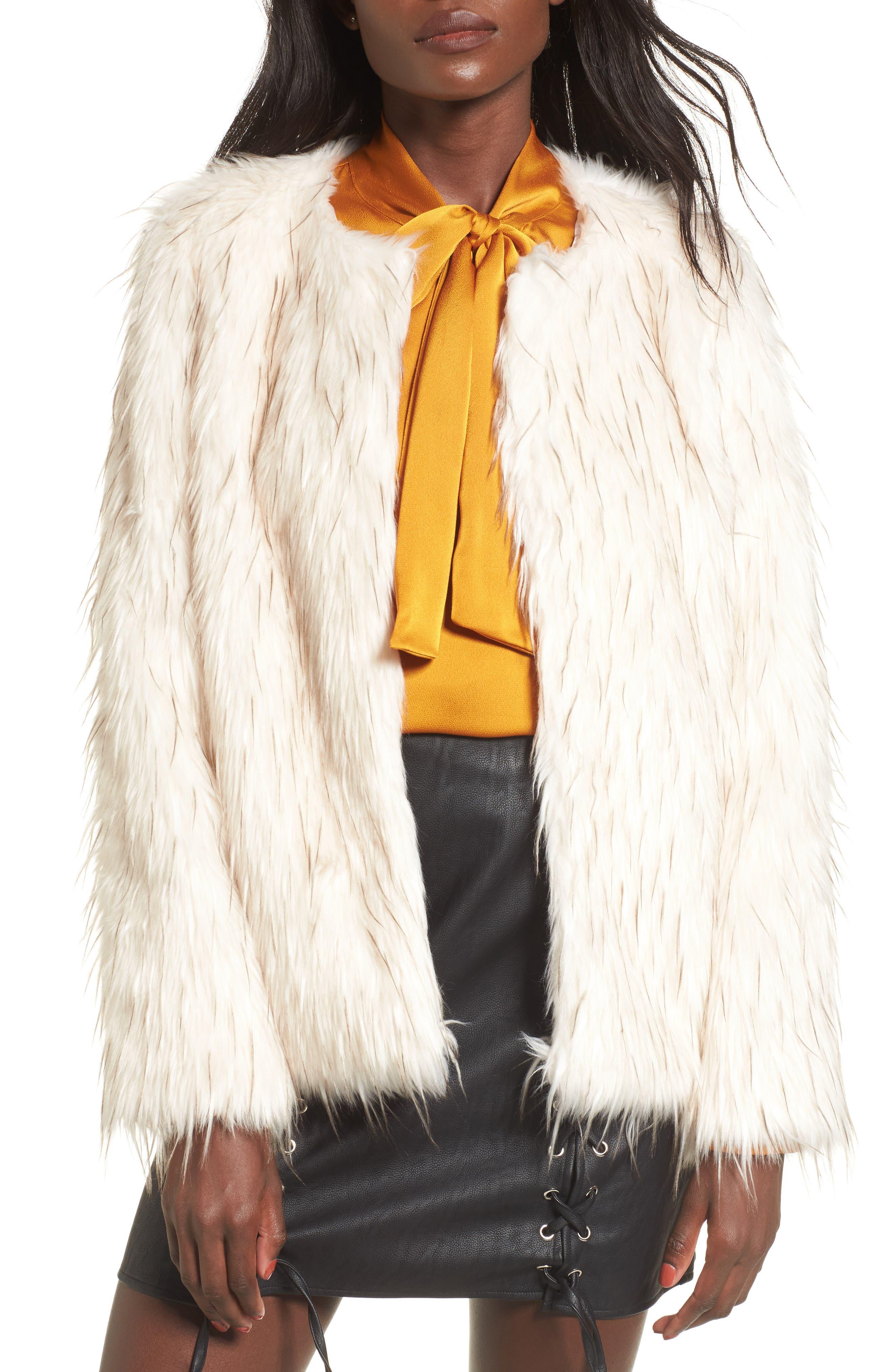 Aurora Faux Fur Jacket,                             Main thumbnail 1, color,                             Ivory