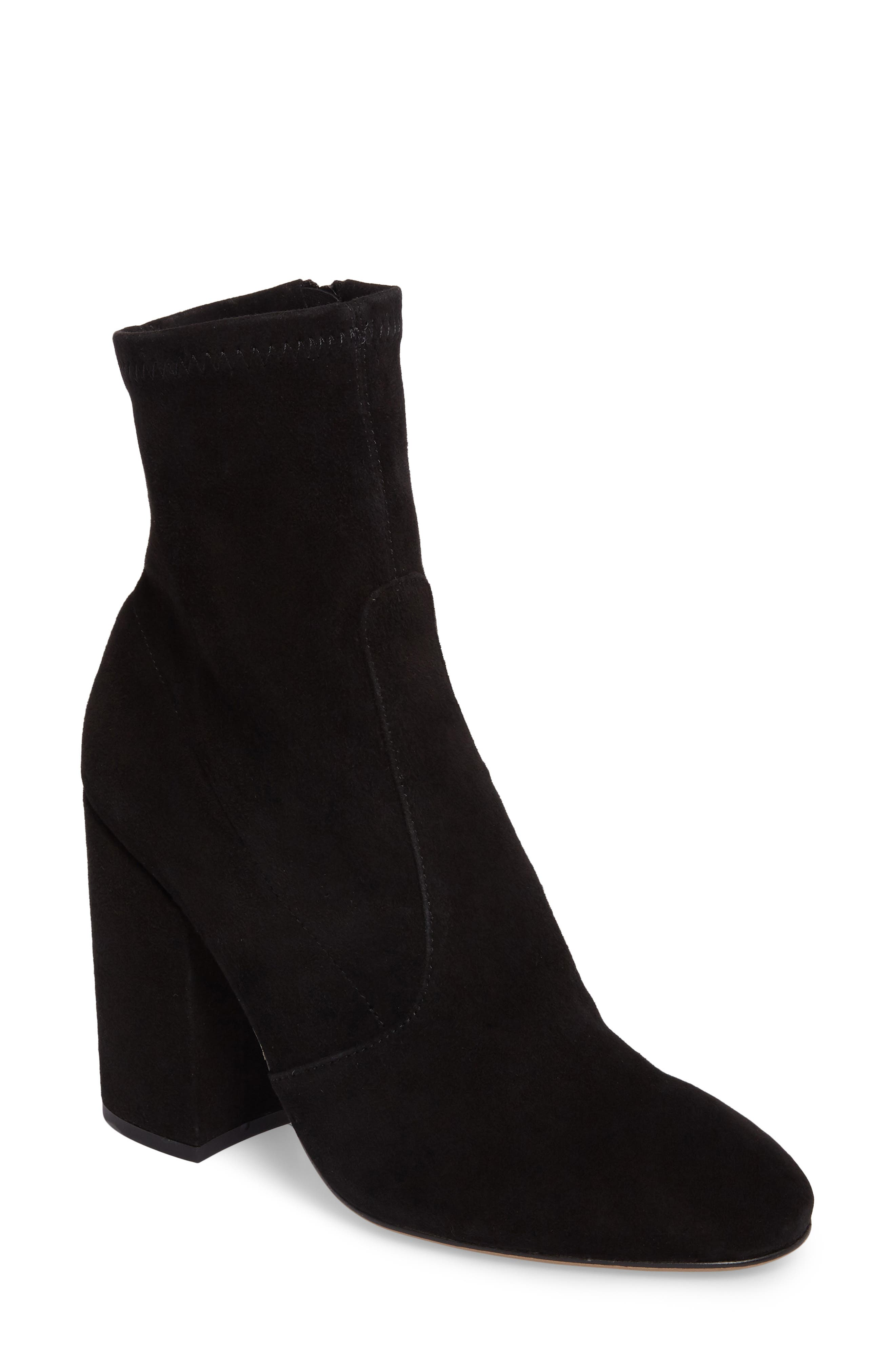 Alaia Block Heel Bootie,                         Main,                         color, Black Suede