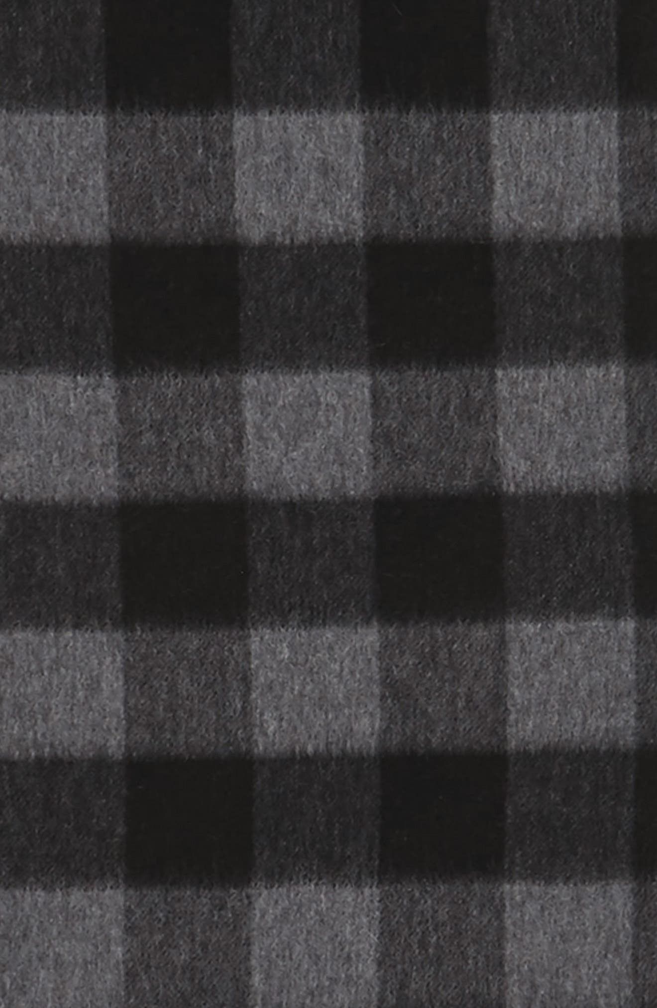 Check Cashmere Scarf,                             Alternate thumbnail 3, color,                             Grey Excalibur - Black Buffalo