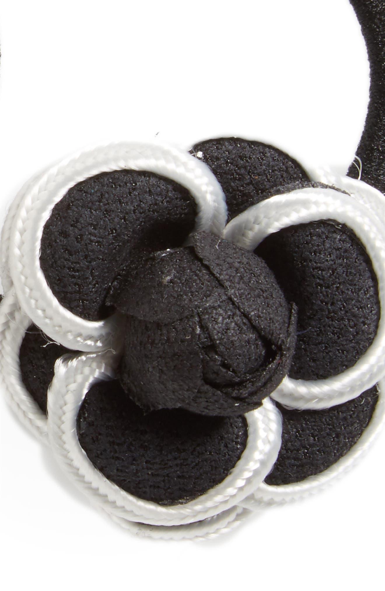 2-Pack Floral Ponytail Holders,                             Alternate thumbnail 2, color,                             Black/White