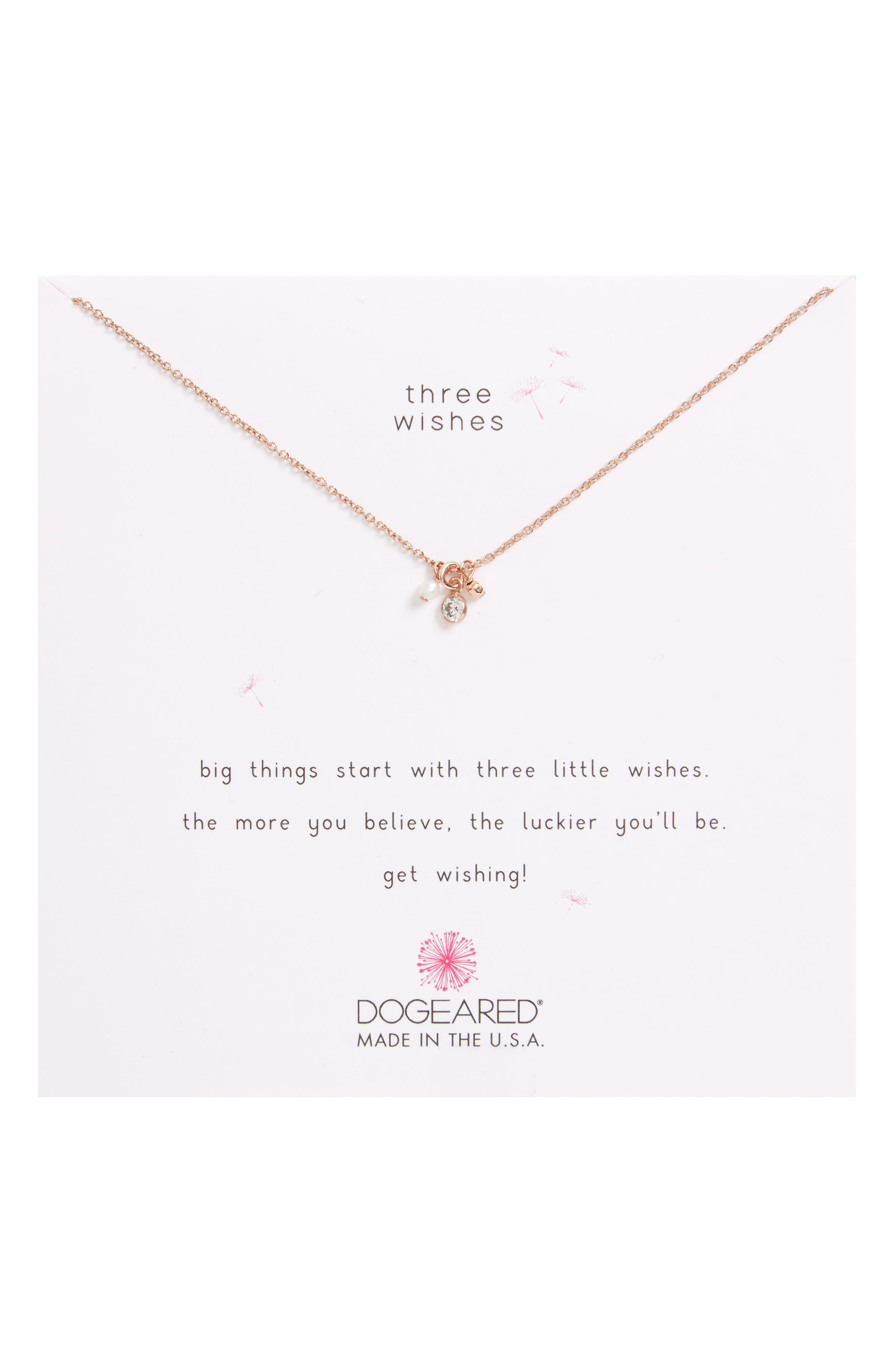 Three Wishes Cluster Charm Pendant Necklace,                         Main,                         color, Rose Gold