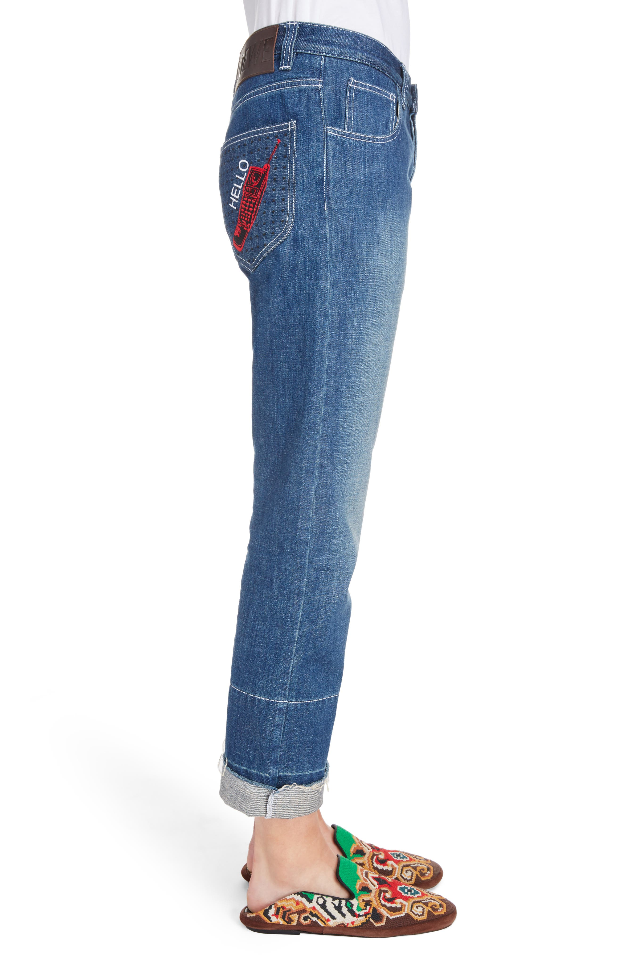 Embroidered Crop Straight Leg Jeans,                             Alternate thumbnail 7, color,                             Indigo