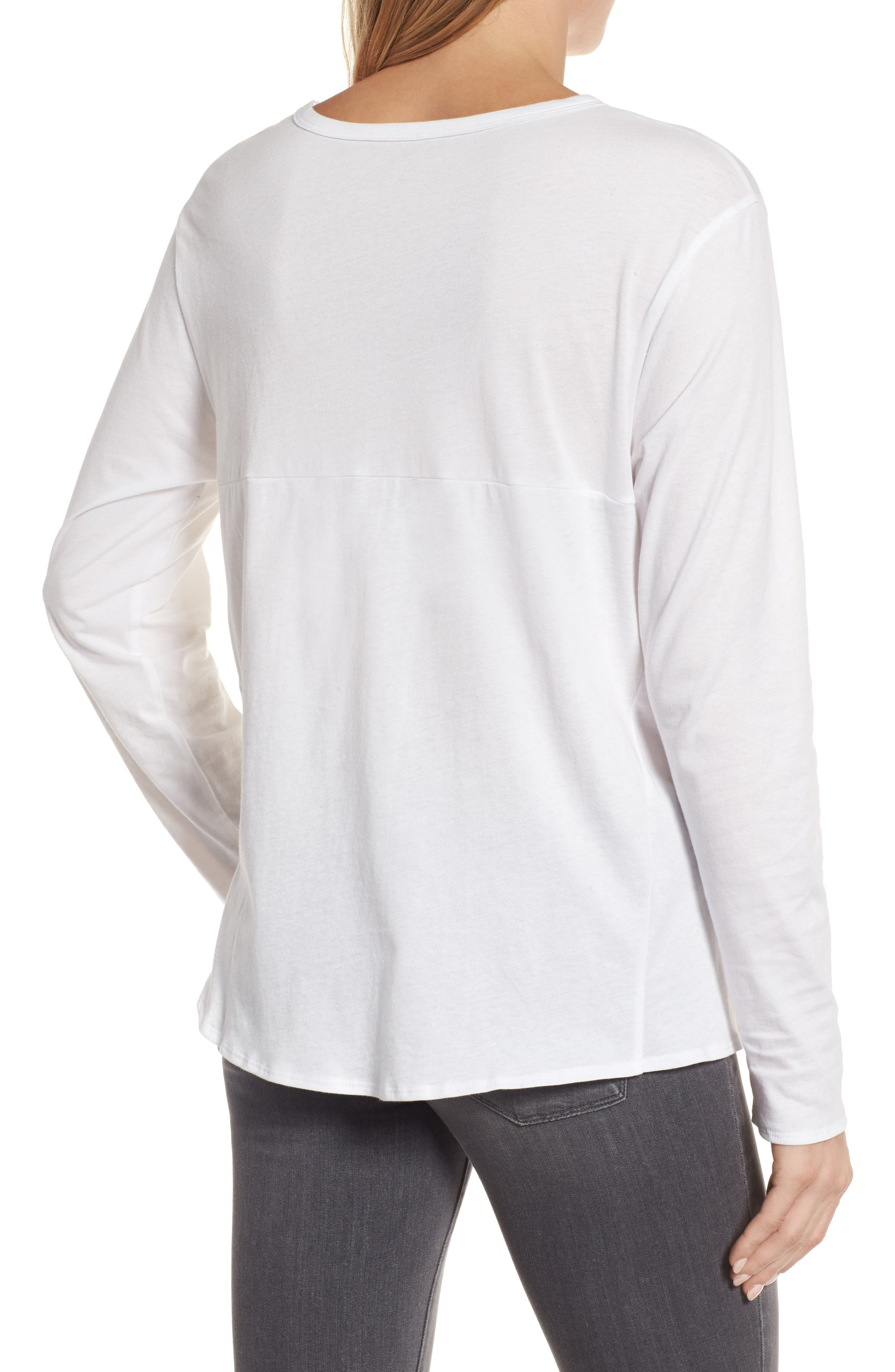 Long Sleeve Side Tie Tee,                             Alternate thumbnail 2, color,                             White