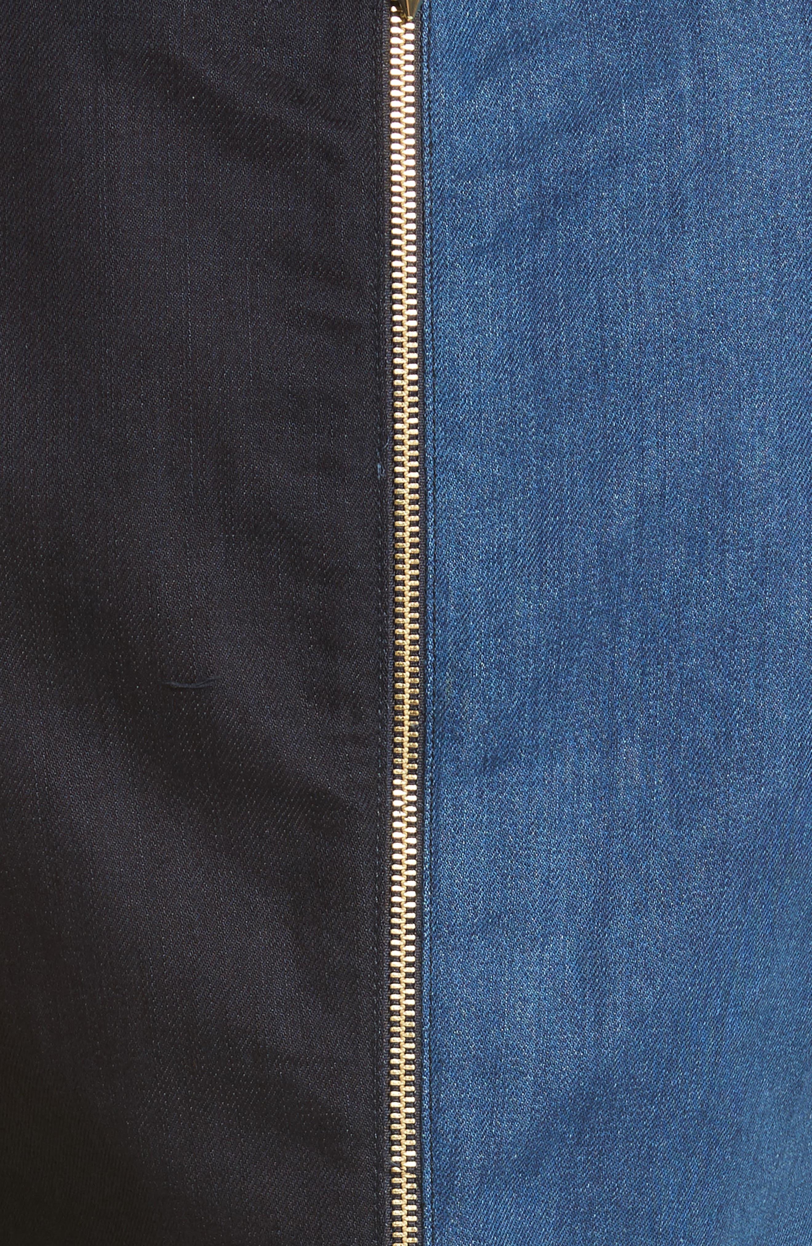 Ted Baker Morfee London Colorblock Denim A-Line Dress,                             Alternate thumbnail 5, color,                             Mid Wash