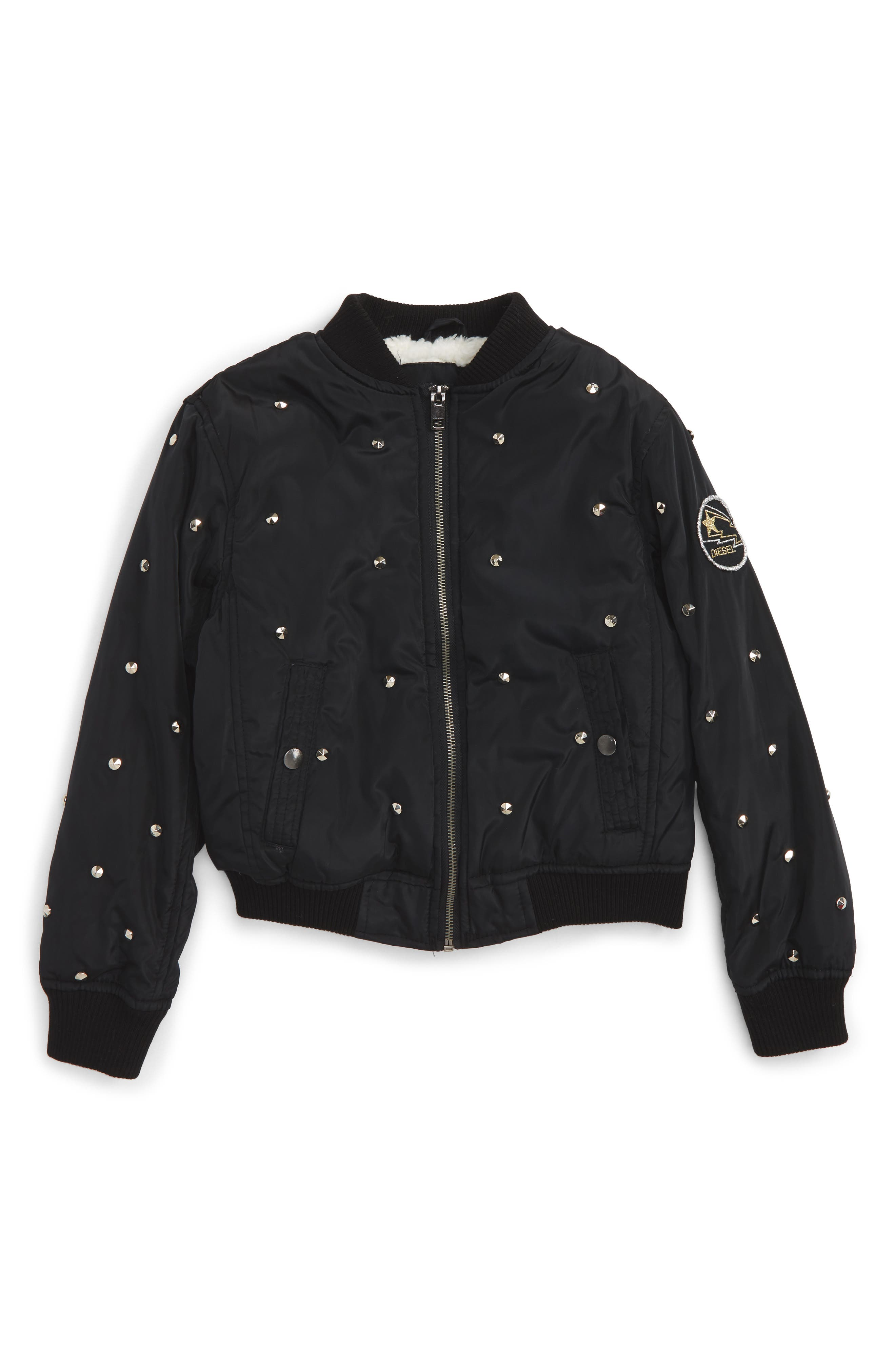 Diesel Studded Satin Bomber Jacket with Faux Fur Lining (Big Girls)
