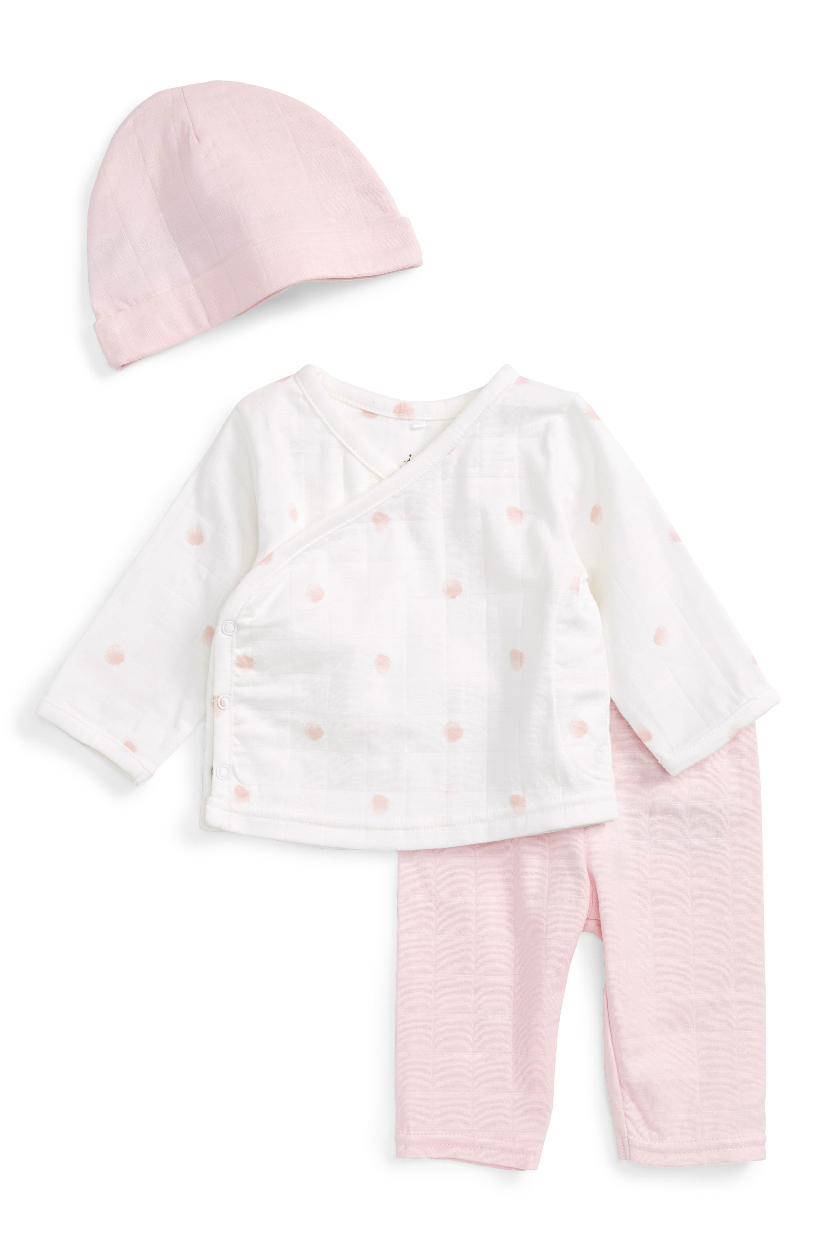 aden + anais Quilted Shirt, Pants & Beanie Set (Baby Girls)