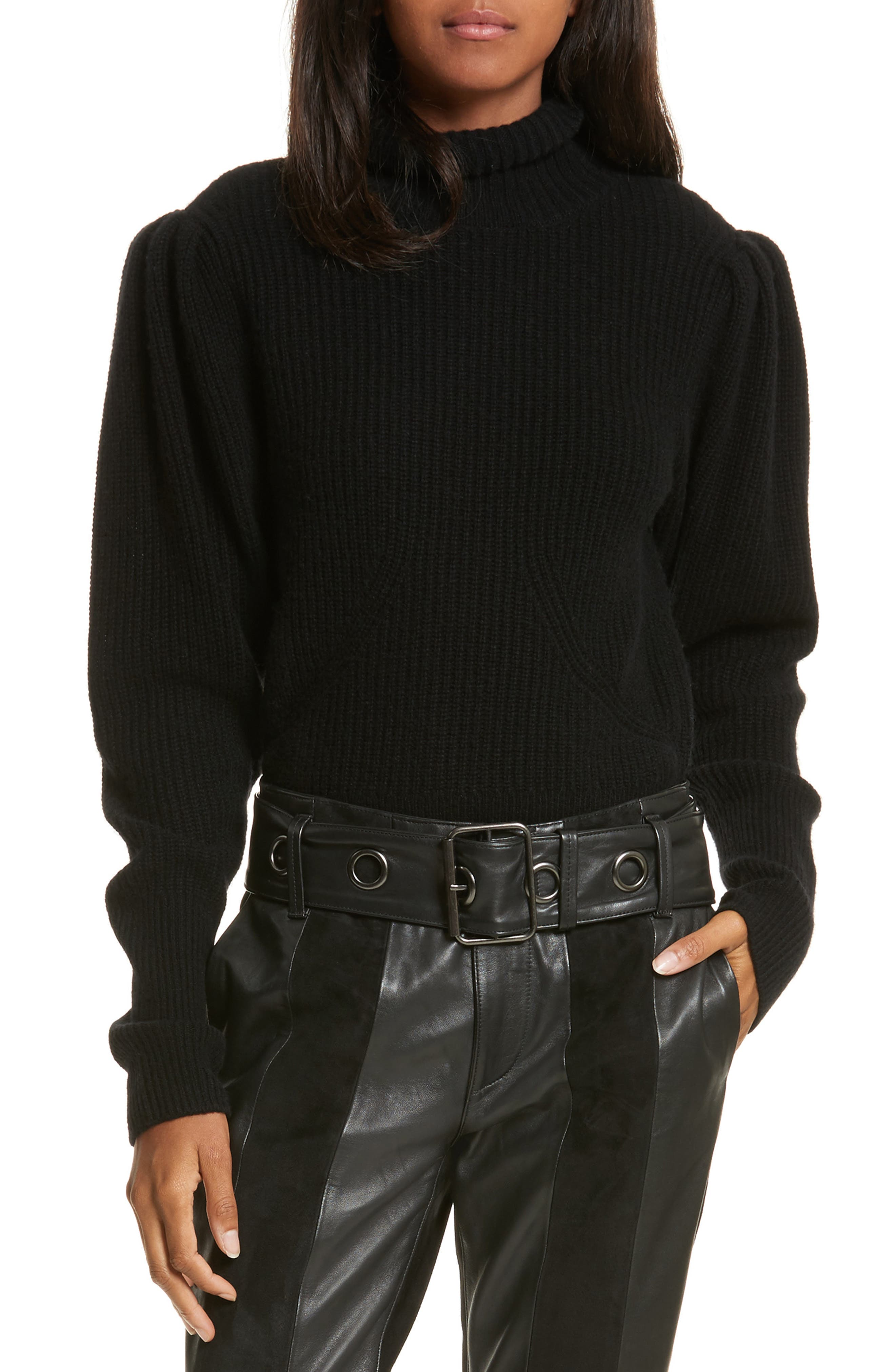 Wool & Cashmere Puff Sleeve Turtleneck Sweater,                         Main,                         color, Noir