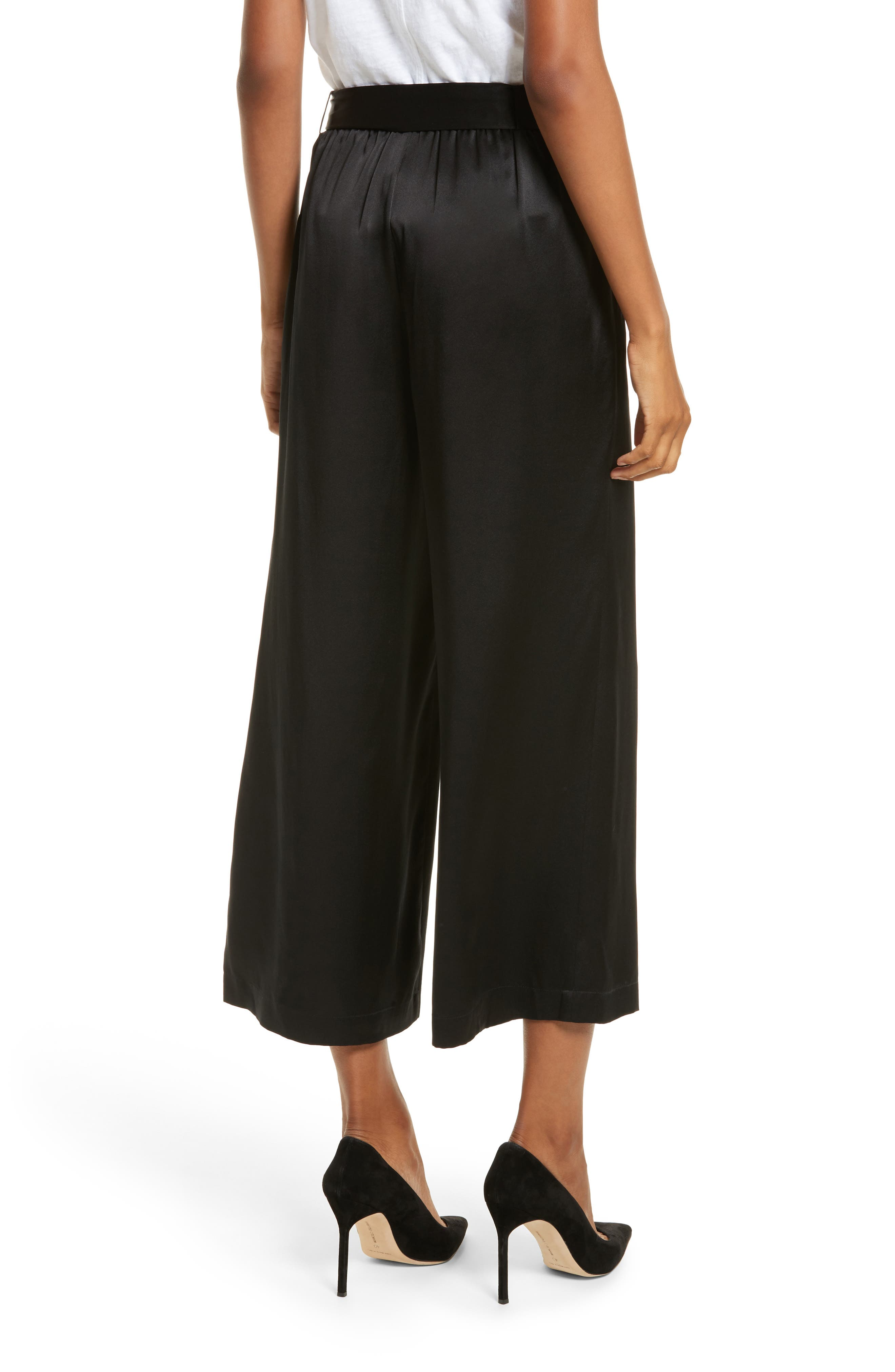 Tie Waist Crop Silk Pants,                             Alternate thumbnail 3, color,                             Noir