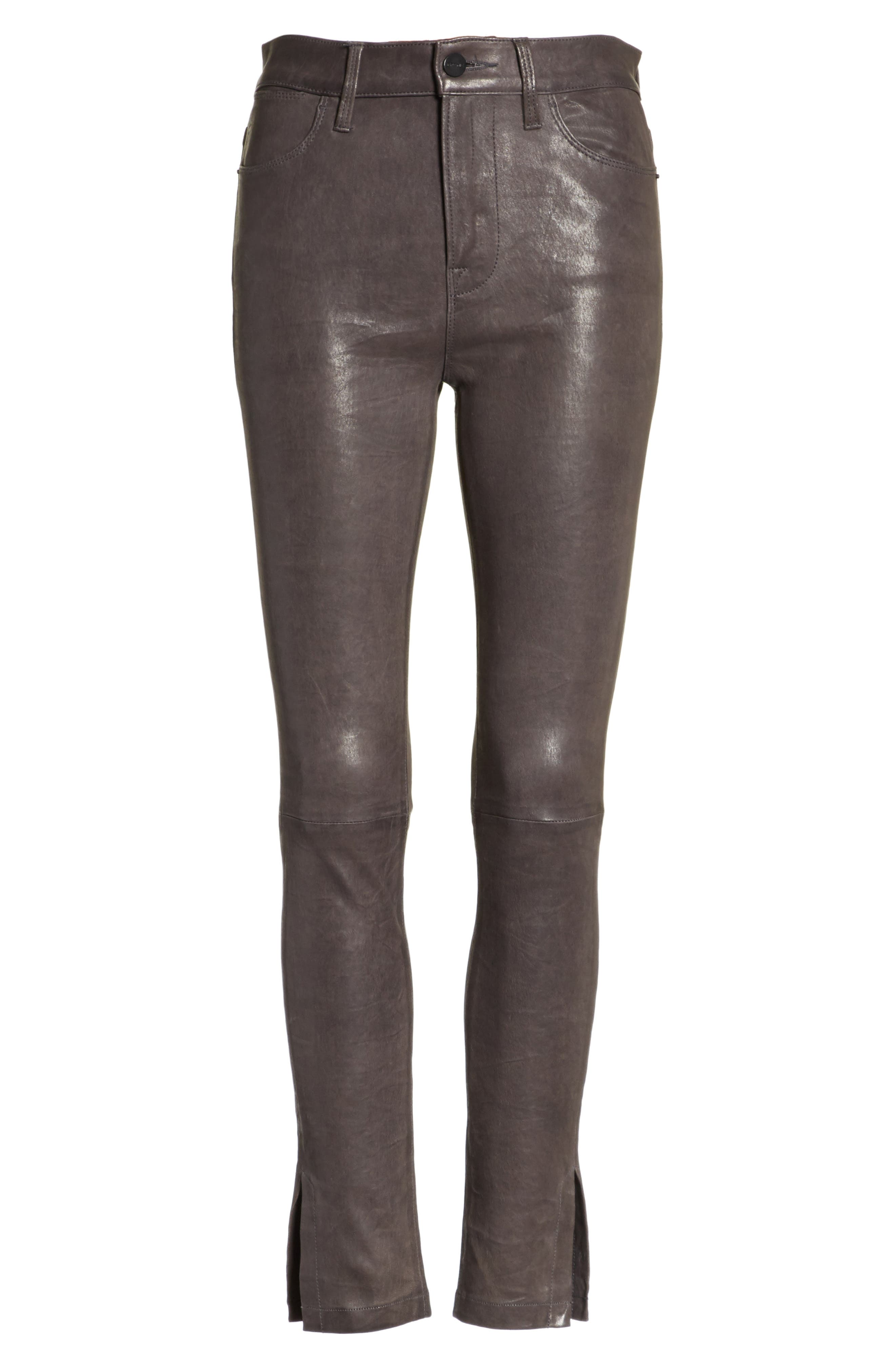 Le High Skinny Slit Leather Pants,                             Alternate thumbnail 6, color,                             Charcoal