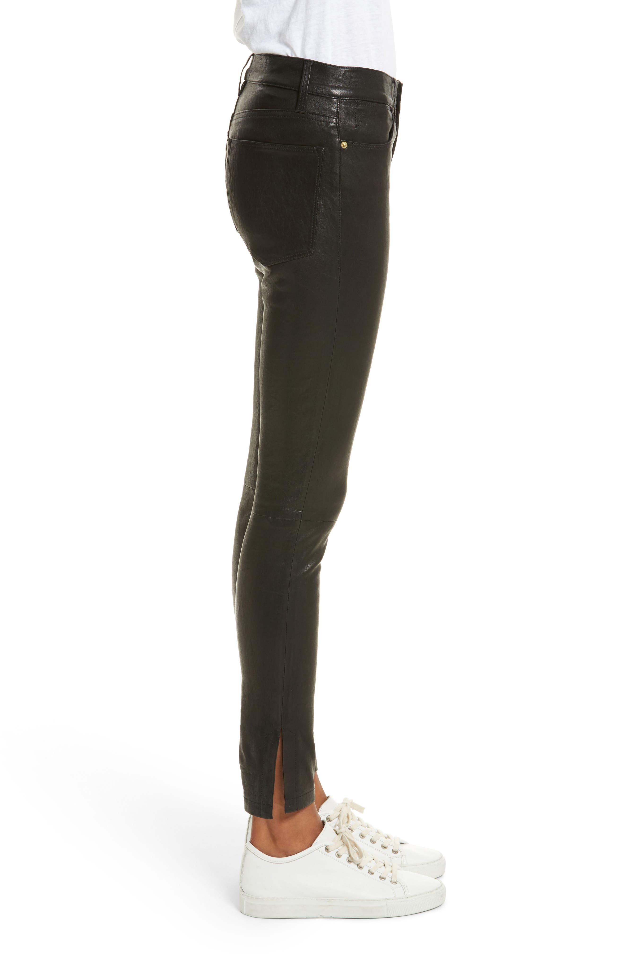 Le High Skinny Slit Leather Pants,                             Alternate thumbnail 3, color,                             Washed Black
