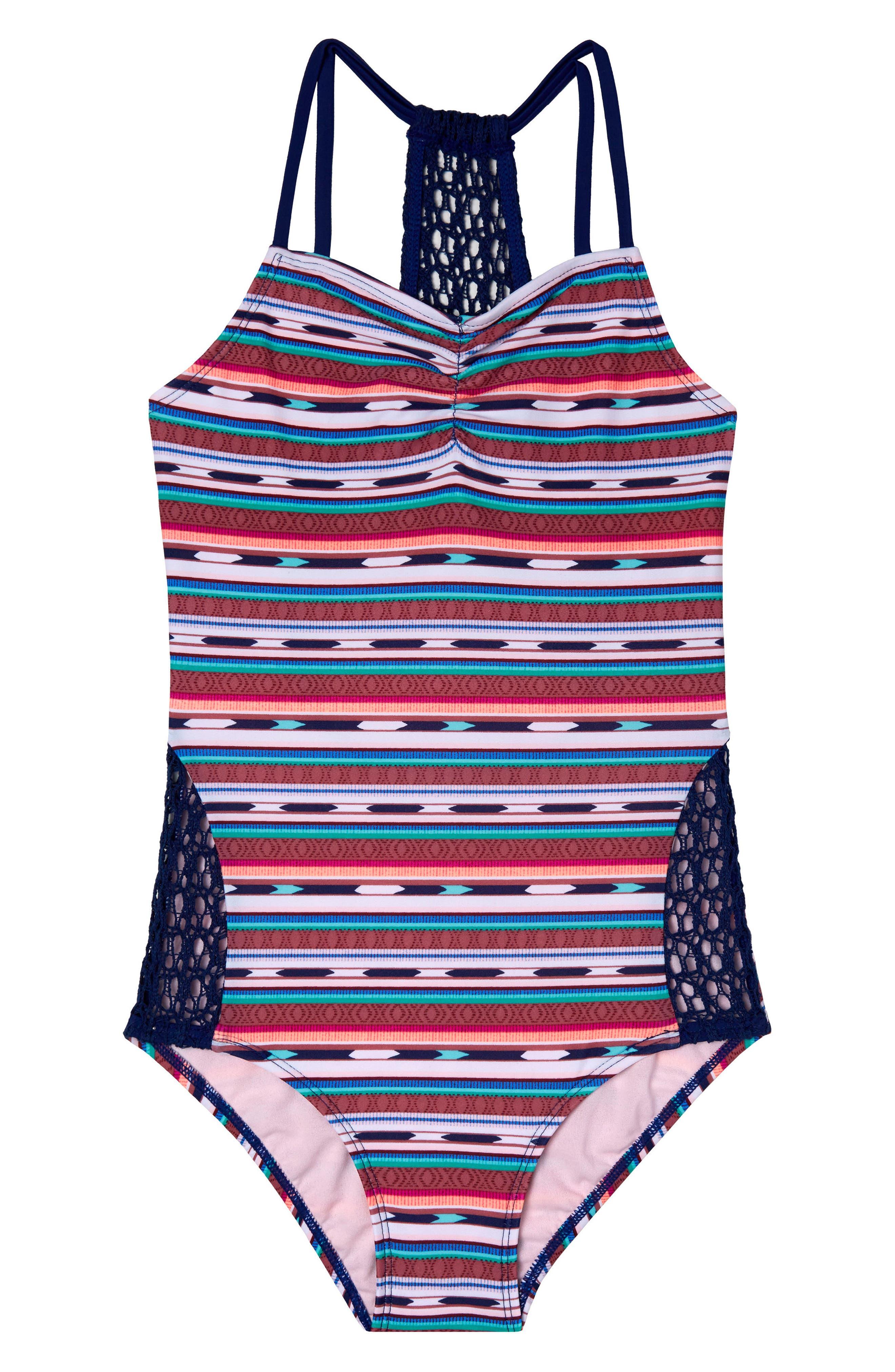 Desert Stripe One-Piece Swimsuit,                         Main,                         color, Navy