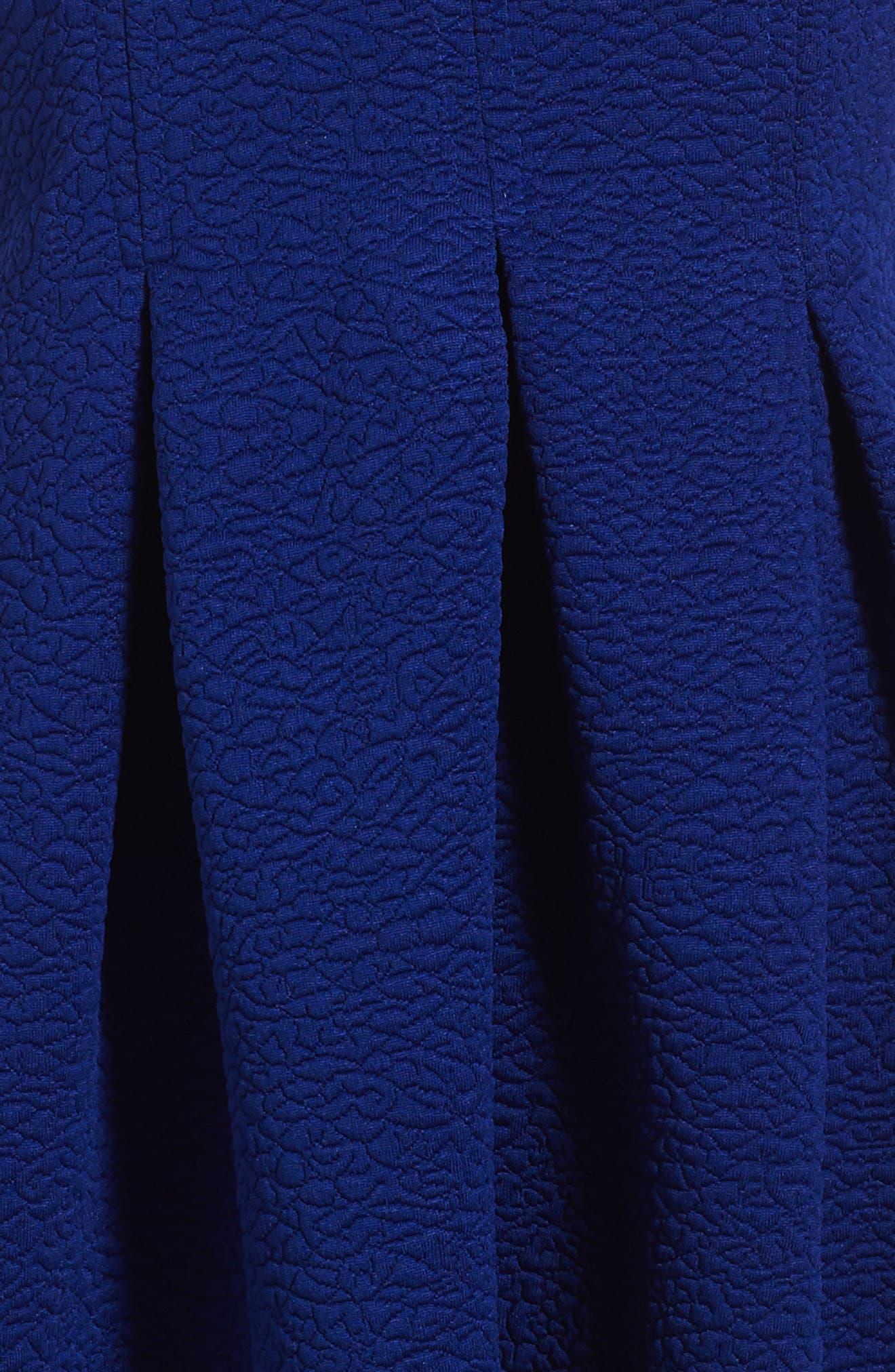 Pleated Knit Dress,                             Alternate thumbnail 3, color,                             Royal