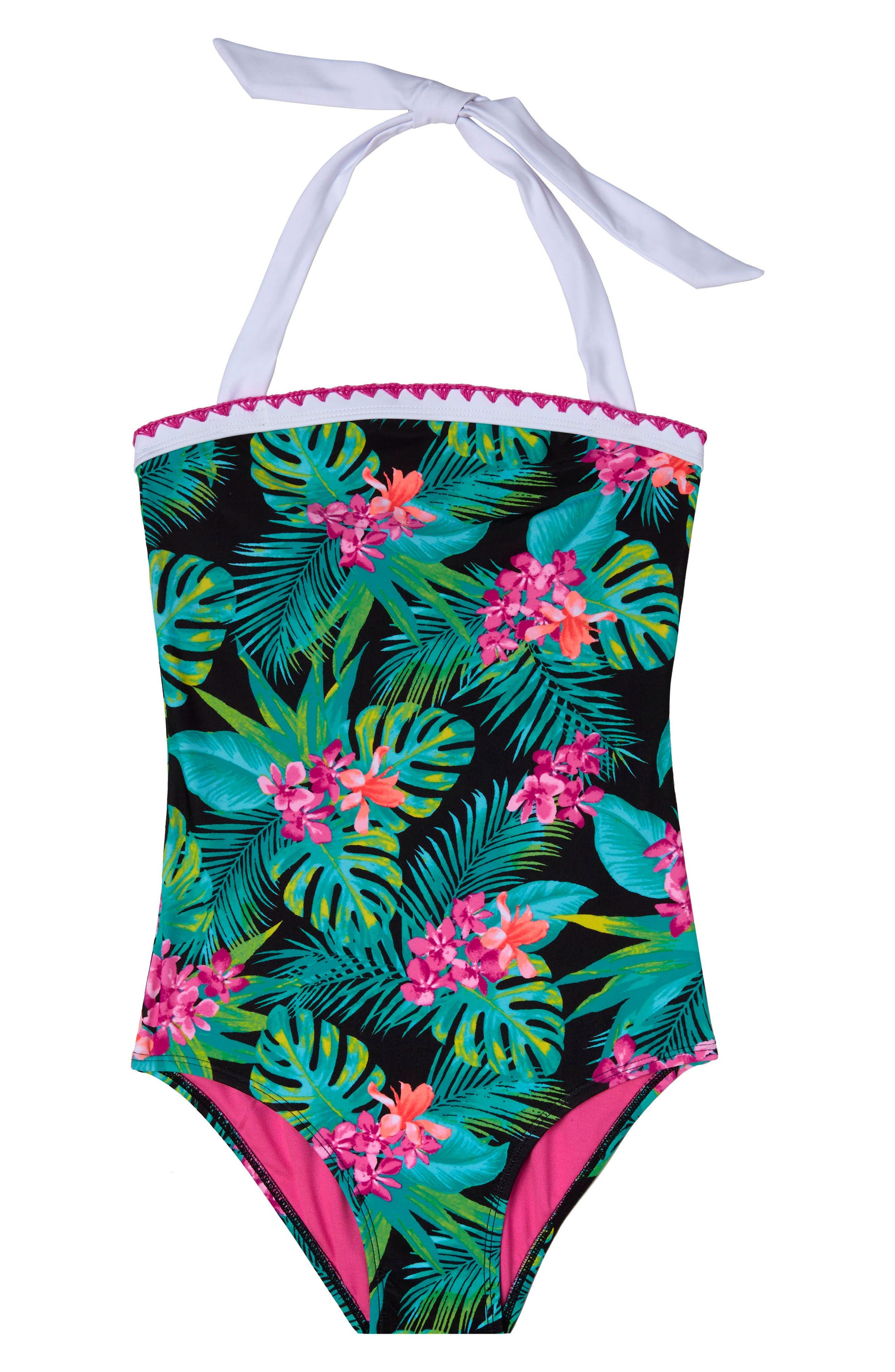 Tropical Escape One-Piece Swimsuit,                         Main,                         color, Black